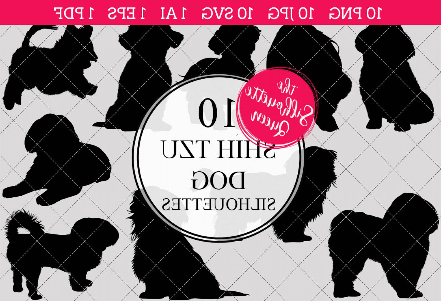 Shih Tzu Vector Siluete: Shih Tzu Dog Silhouettes Clipart Clip Art Ai Eps Svgs Jpgs Pngs Pdf Shih Tzu Clipart Vectors Commercial Personal Use
