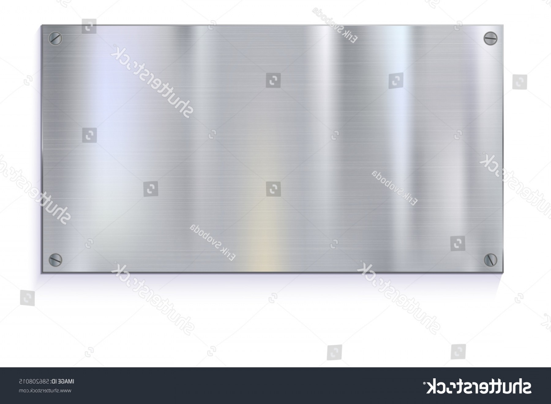 Sheet Metal Effect Vector: Shiny Brushed Metal Plate Banners On