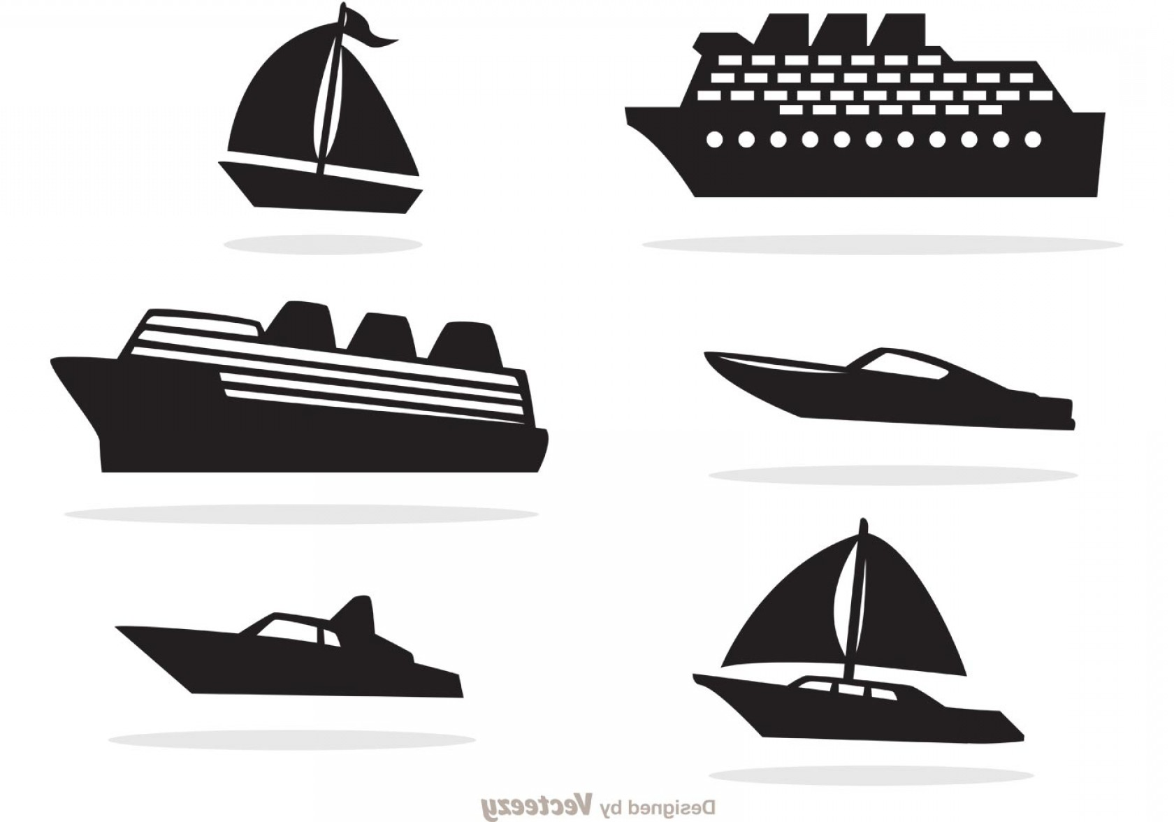 Waves With Cruise Ship Silhouette Vector: Ship And Boat Black Icons Vector