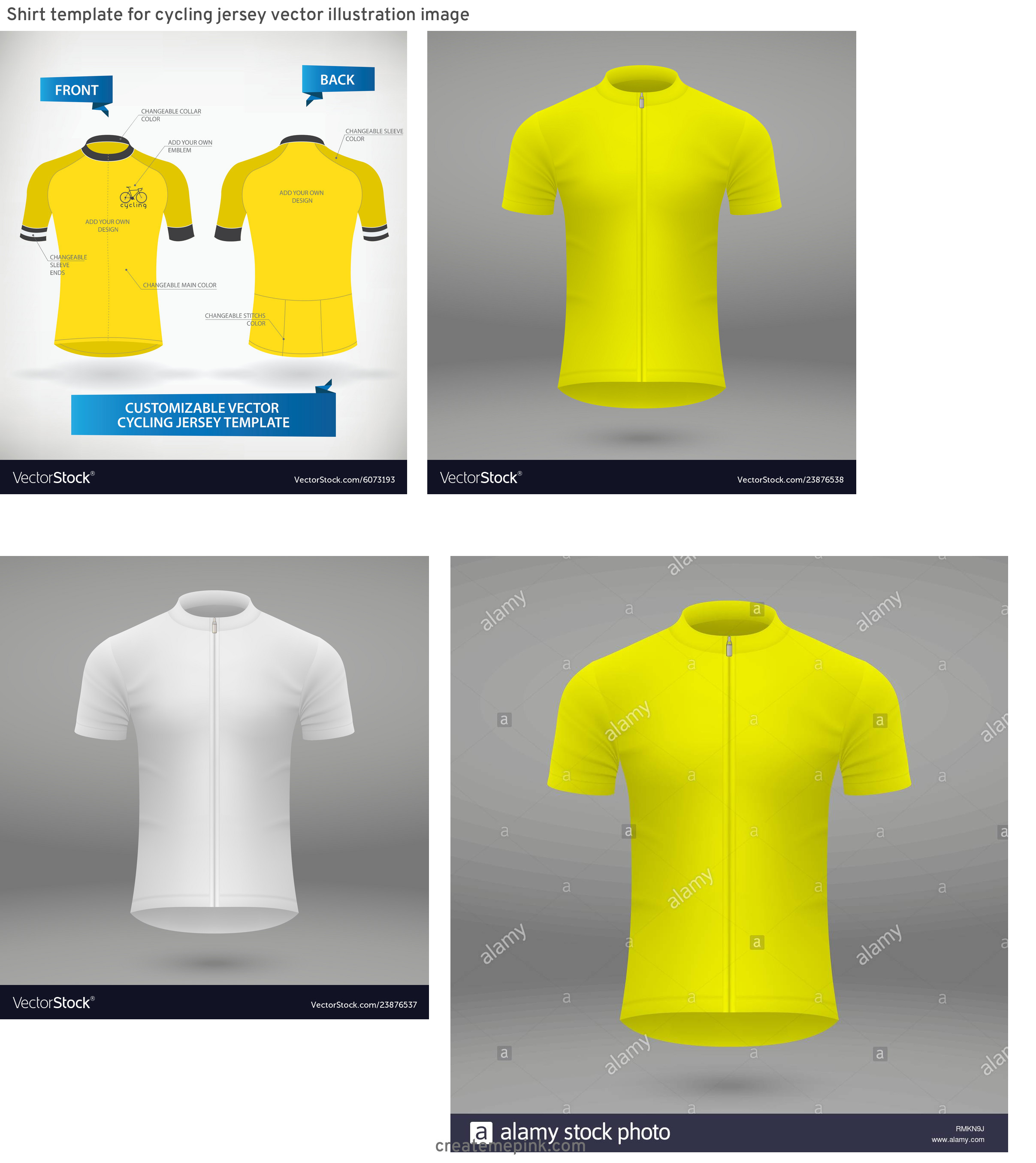 Cycling Kit Template Vector: Shirt Template For Cycling Jersey Vector Illustration Image
