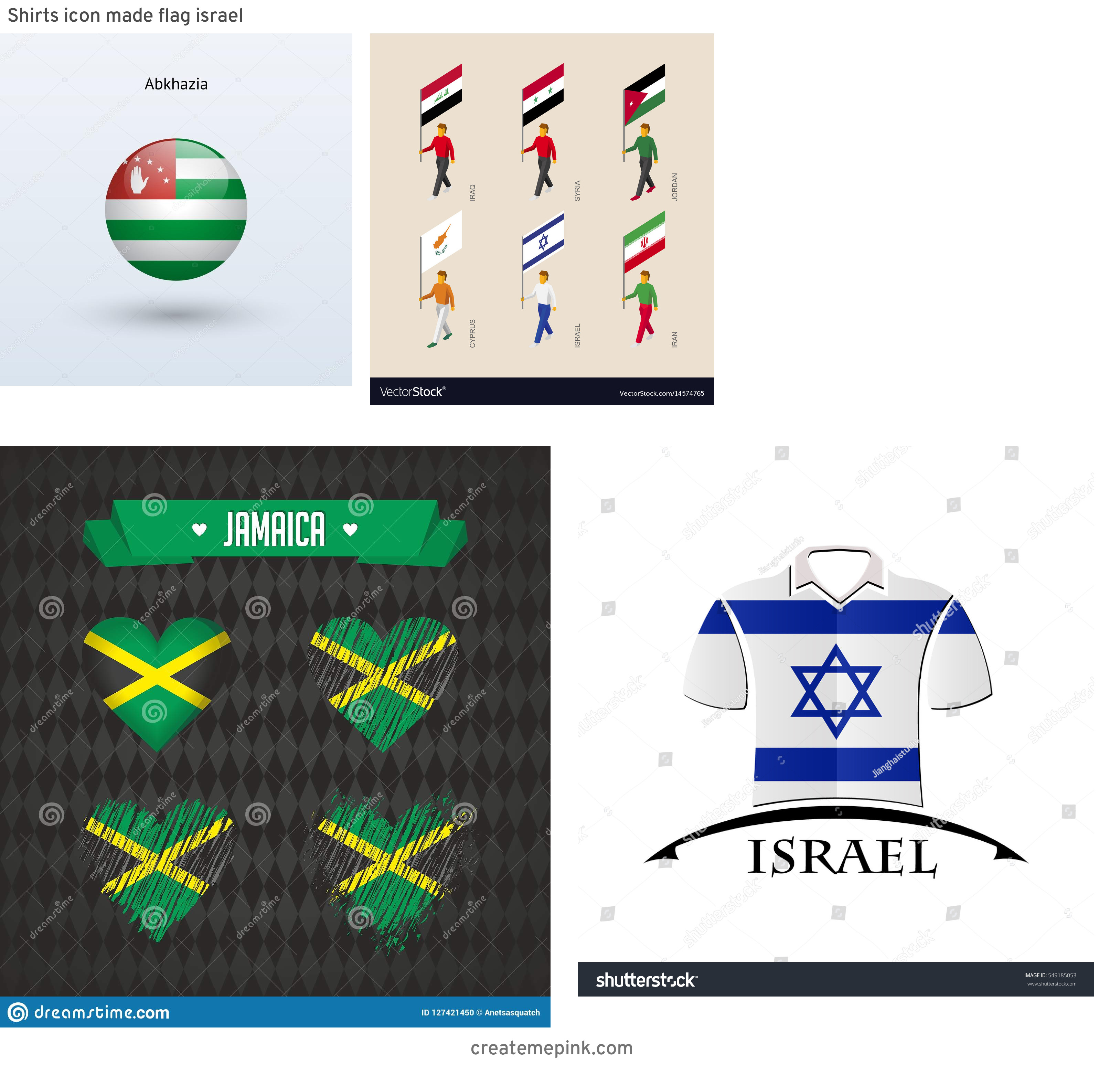 Israel And New Jersey Flag Vector: Shirts Icon Made Flag Israel