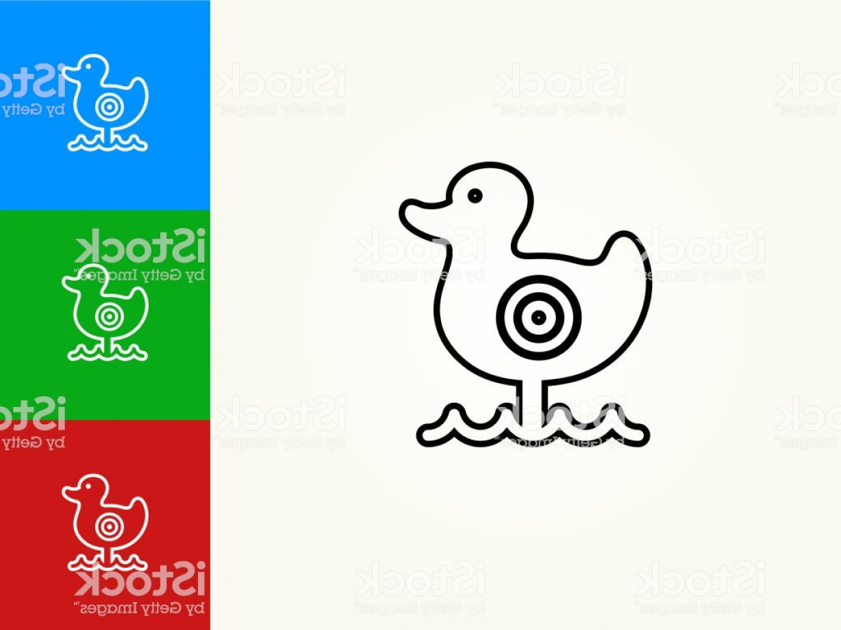 Shot Duck Outline Vector: Shooting Duck Game Black Stroke Linear Icon Gm