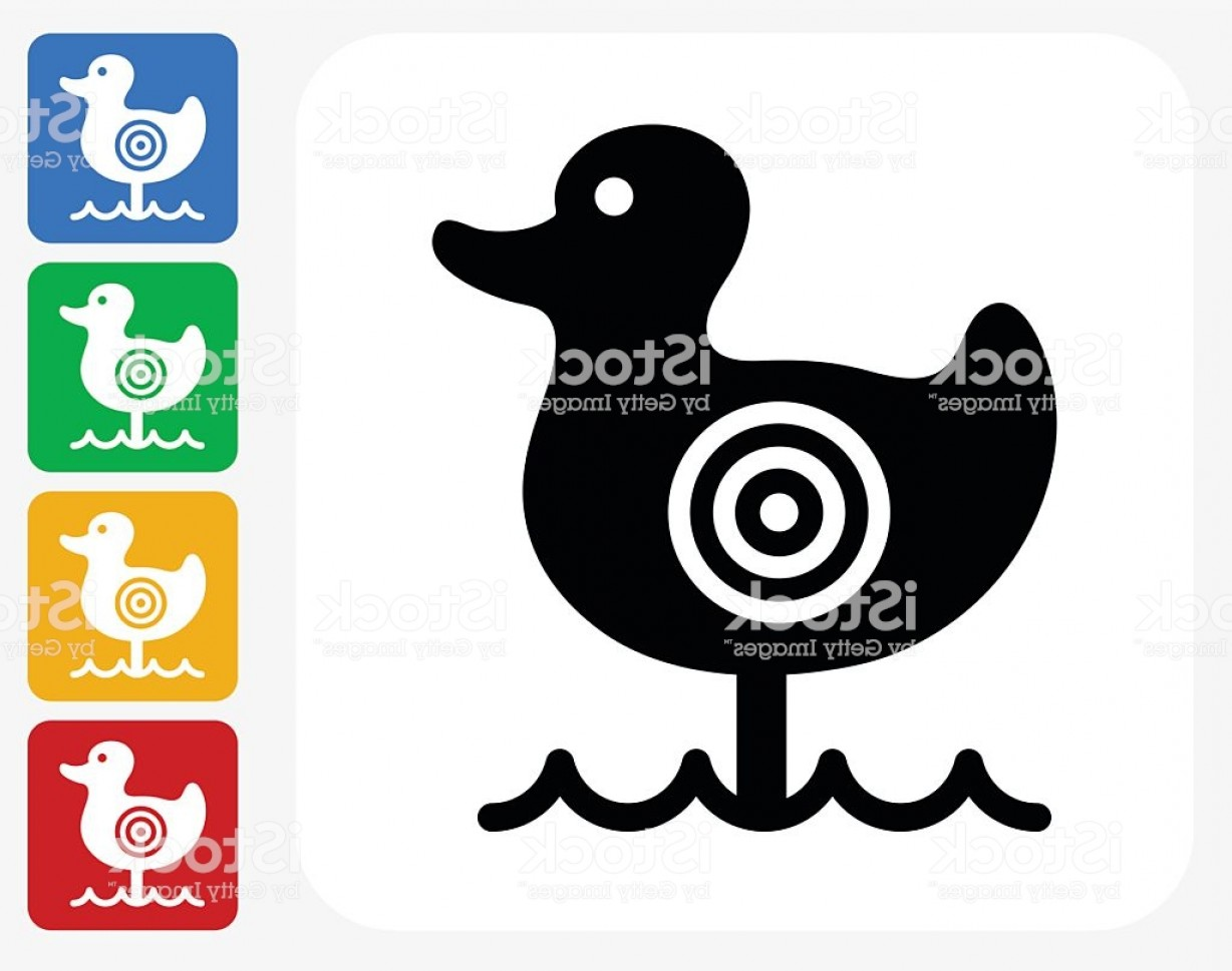 Shot Duck Outline Vector: Shooting Duck Game Icon Flat Graphic Design Gm