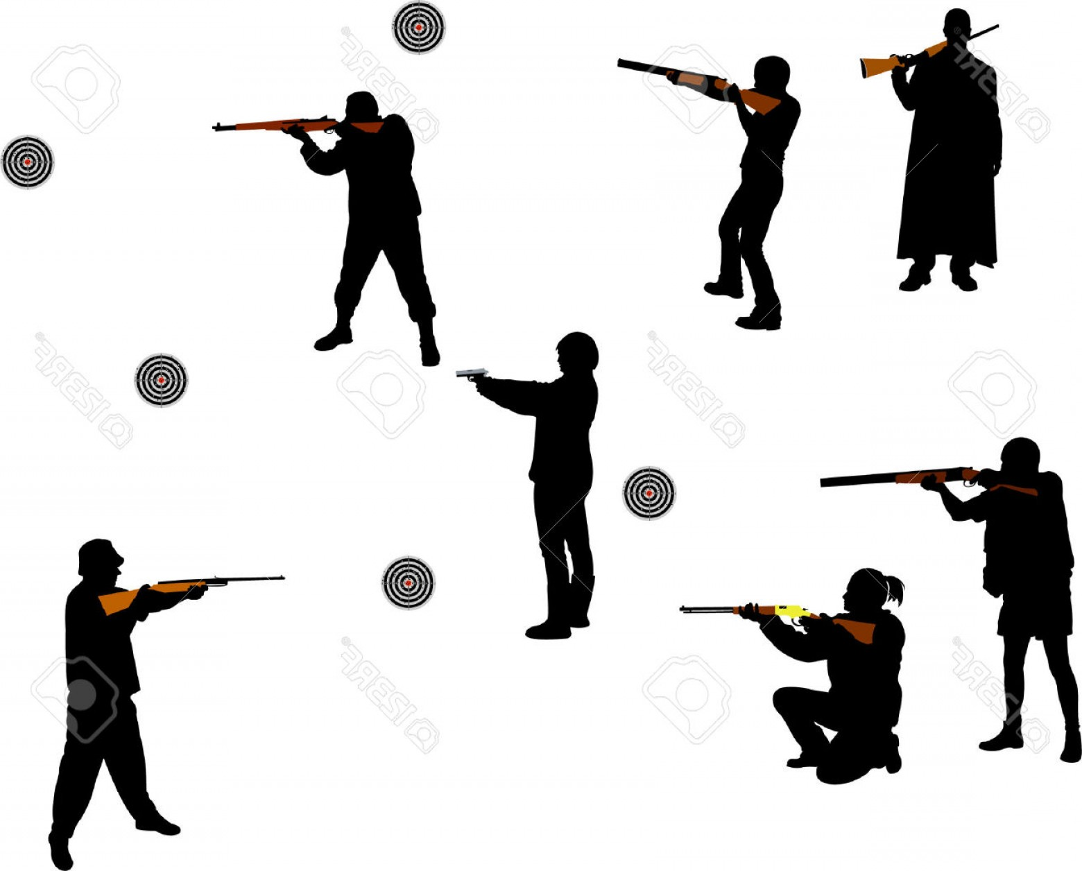 Vector People Free Clip Art: Shooting Shotgun Silhouette Vector People Clipart