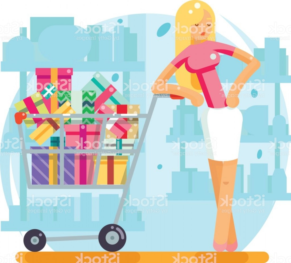 Purchase Vector Art: Shop Cart Shopping Woman Purchase Gift Flat Design Character Vector Illustration Gm