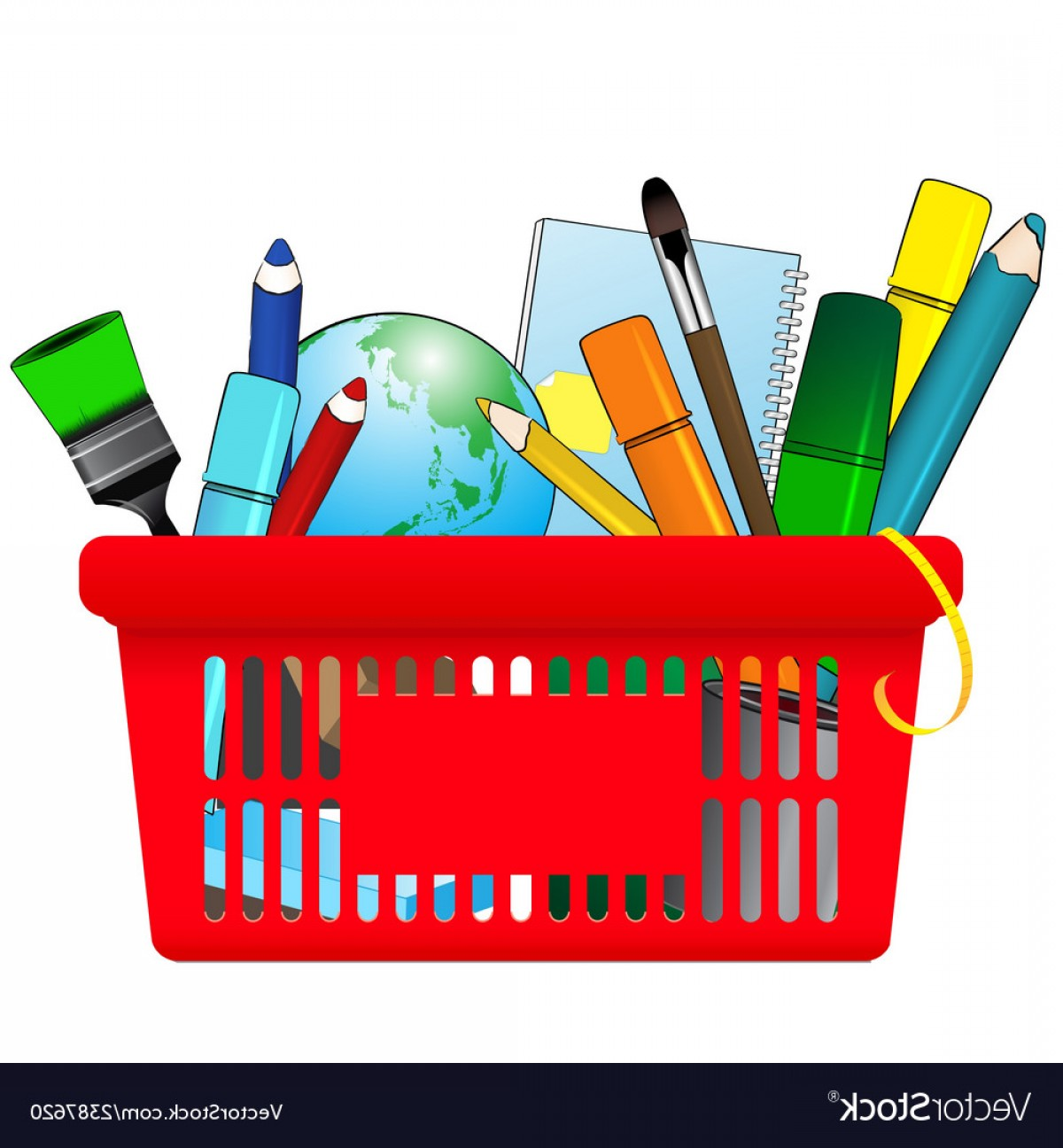 Supplies Vector Graphic: Shopping Card With School Supplies Vector