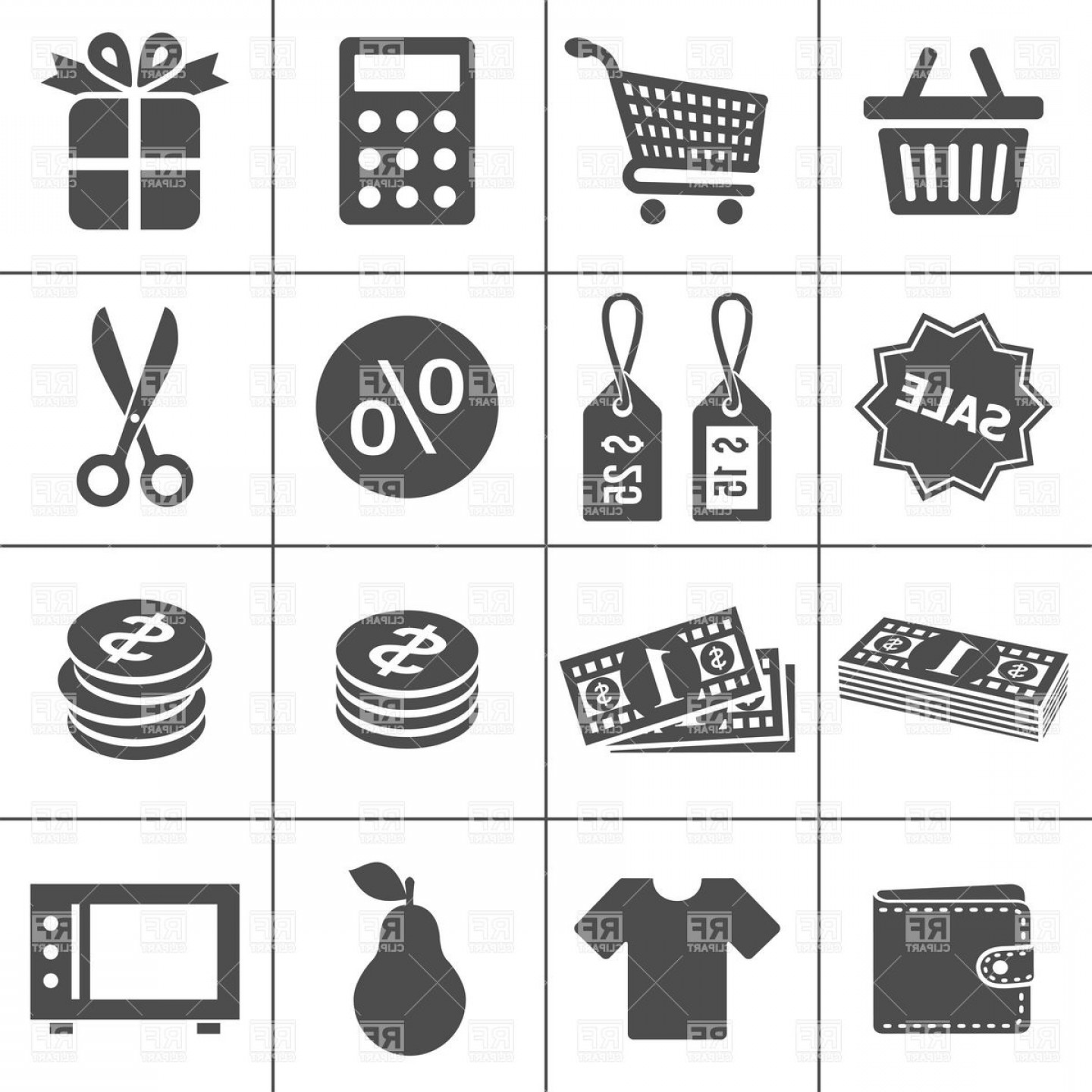 Purchase Vector Art: Shopping Sale And Purchase Icons Vector Clipart