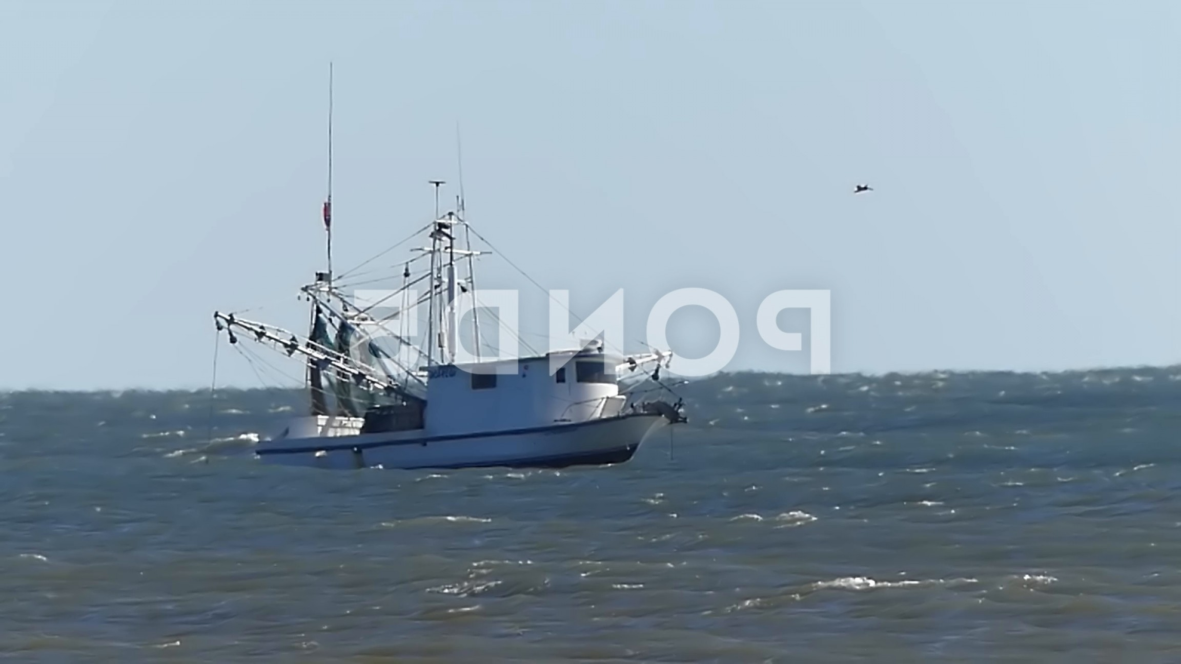Vector Art Shrimper: Shrimp Boat Wallows Rough Seas Gulf Mexico