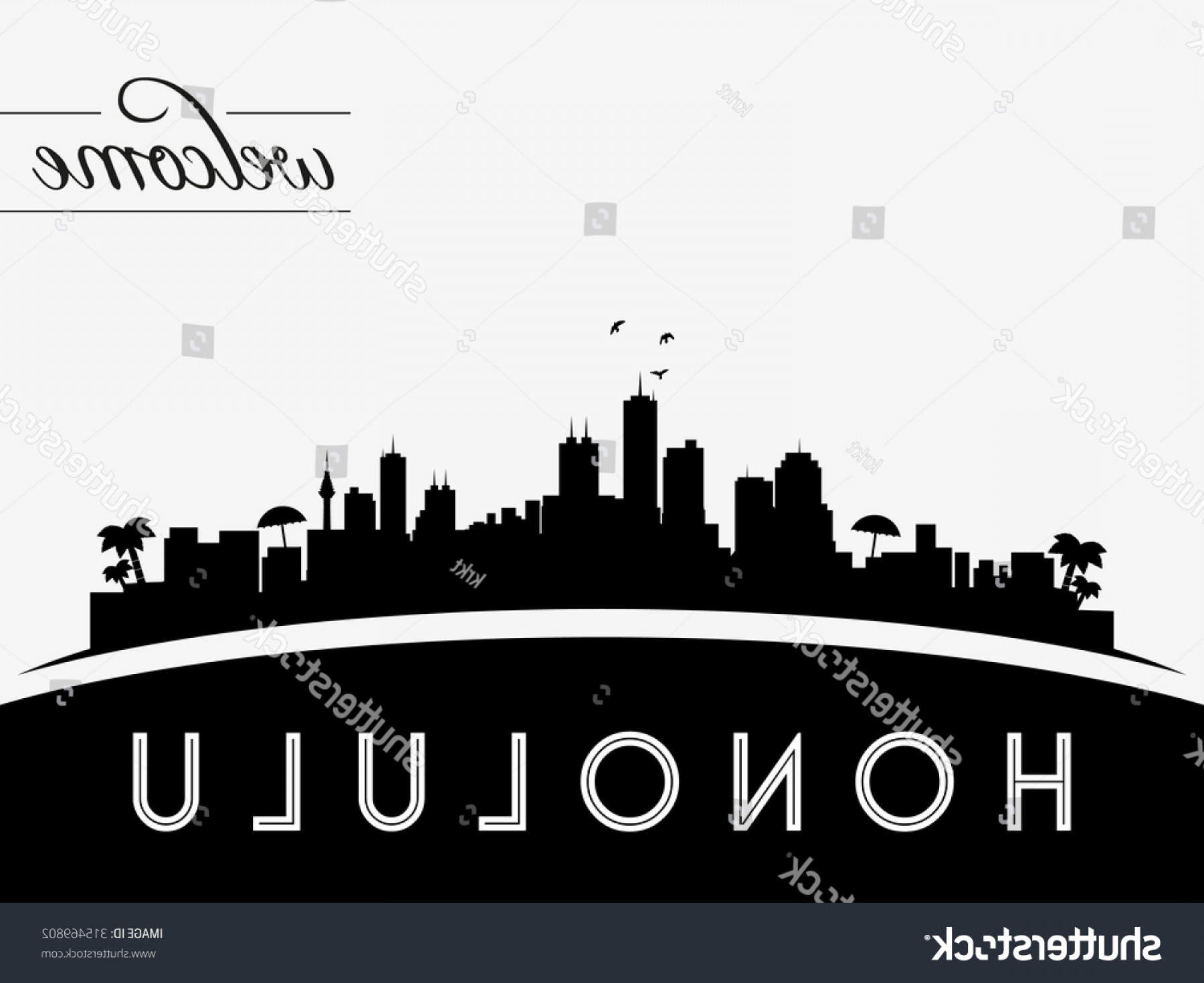 City Of Honolulu At Night Vector: Shutterstock Honolulu Hawaii Skyline Silhouette