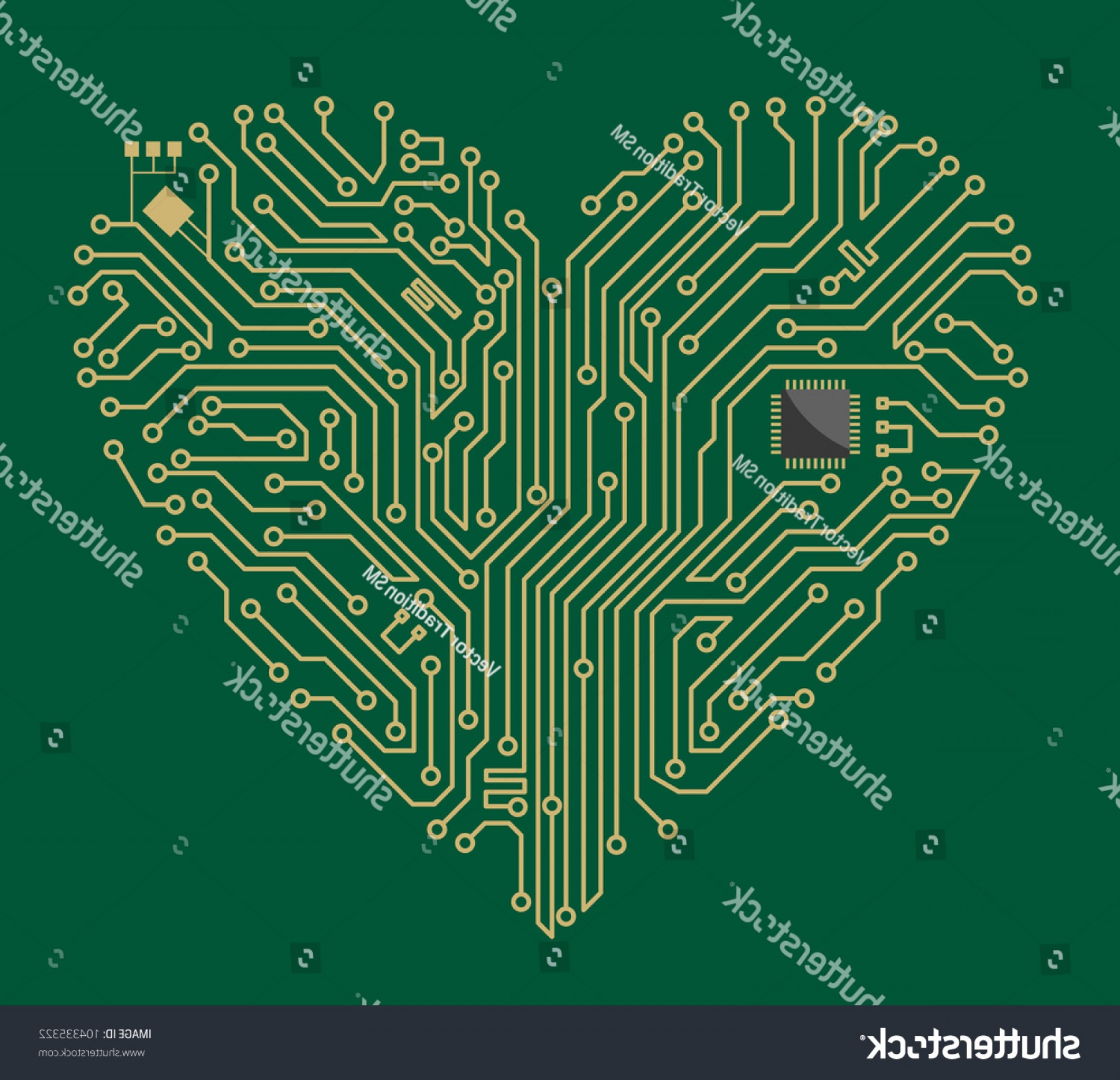 Motherboard Vector With A Heart: Shutterstock Motherboard Computer Heart For Love