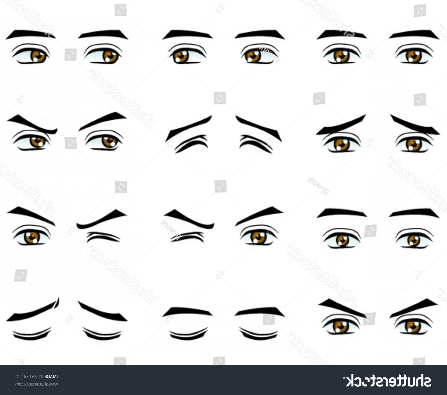 Male Eyes Vector Graphic: Shutterstock Vector Male Eyes In Different Emotion