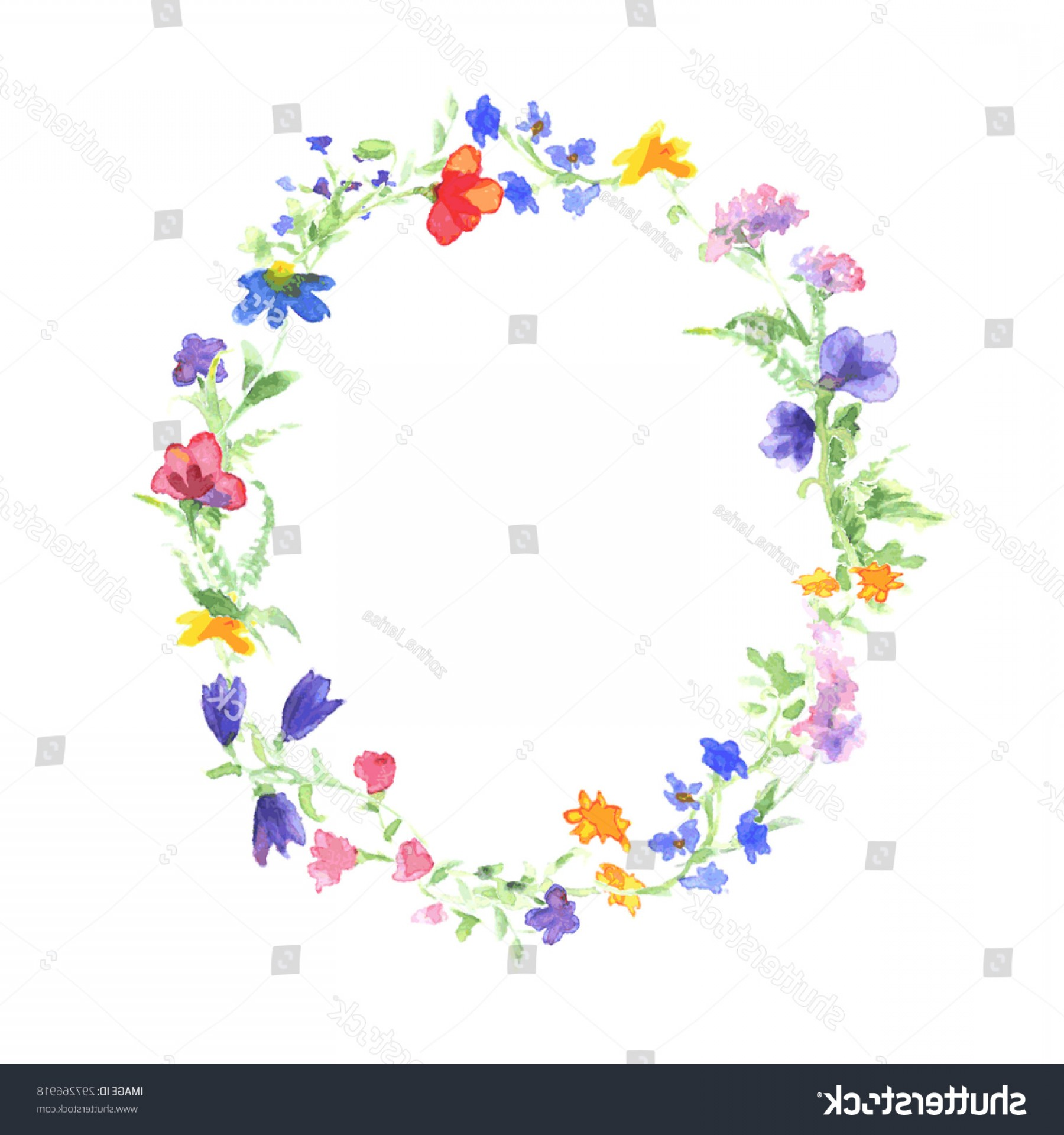Summer Wreath Free Vector Watercolor: Shutterstock Vector Watercolor Wreath With Colorful
