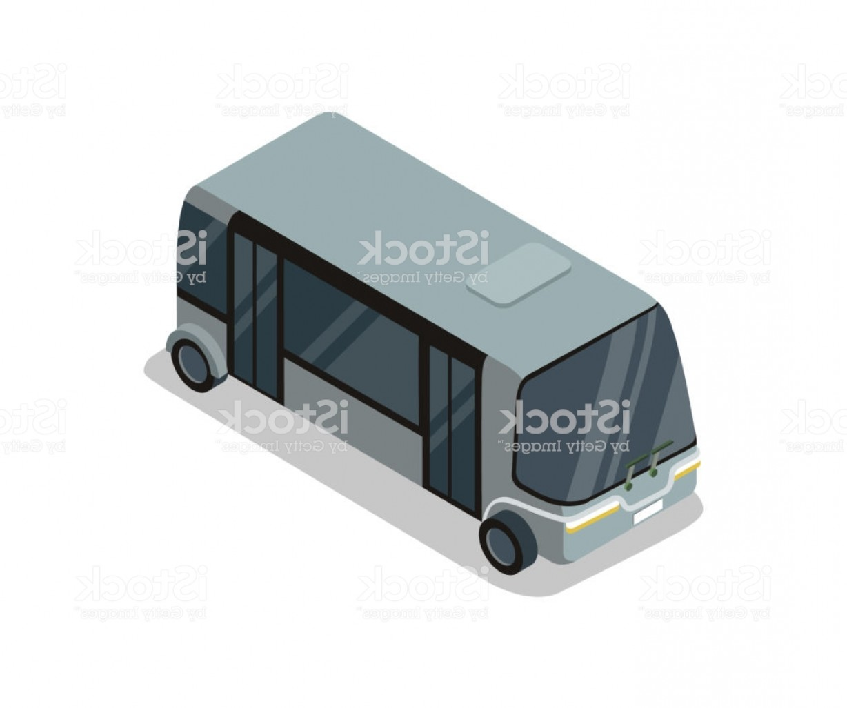 Public Bus Icon Vector: Shuttle Bus Isolated Isometric D Icon Gm
