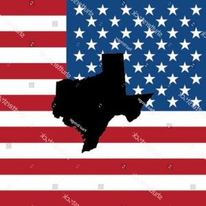 Texas American Flag Vector: Shape State Texas American Flag Background