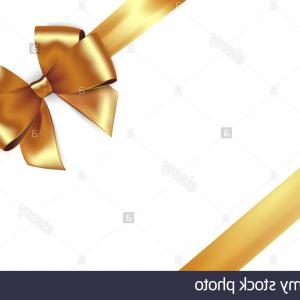 Bow And Ribbon Vector Design: Shiny Golden Satin Ribbon Vector Gold Bow For Design Discount Card Image
