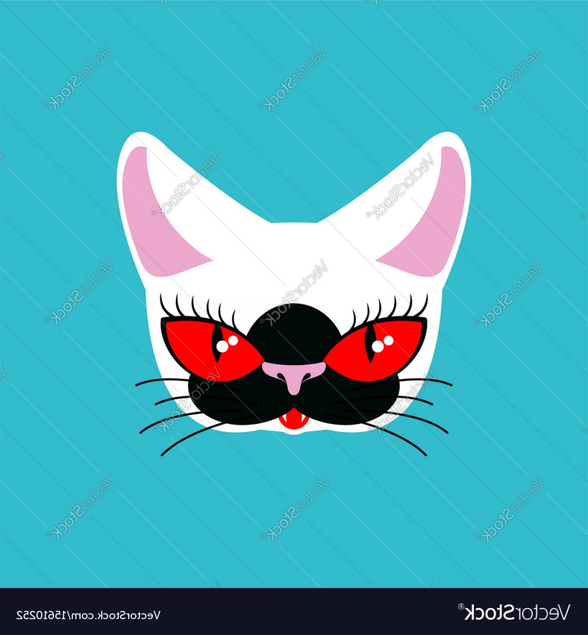 Siamese Cat Vector Transparent Background: Siamese Cat Face Isolated Pet On Green Background Vector