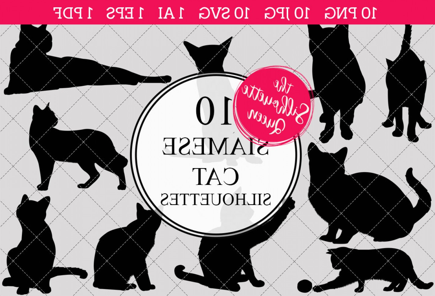 Siamese Cat Vector Transparent Background: Siamese Cat Silhouettes Clipart Clip Artai Eps Svgs Jpgs Pngs Pdf Siamese Cat Clip Art Clipart Vectors Commercial Personal Use