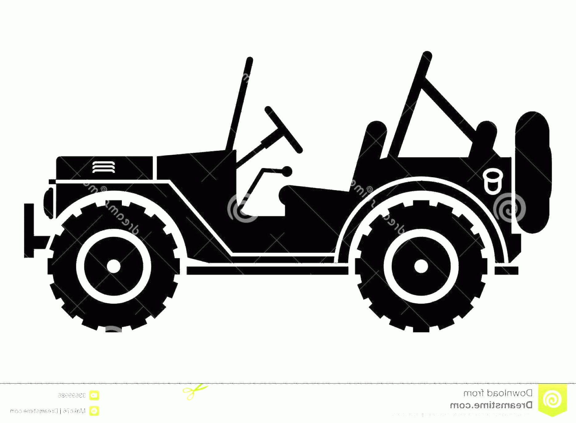 Vector Jeep JK: Side View Jeep Wrangler Clipart