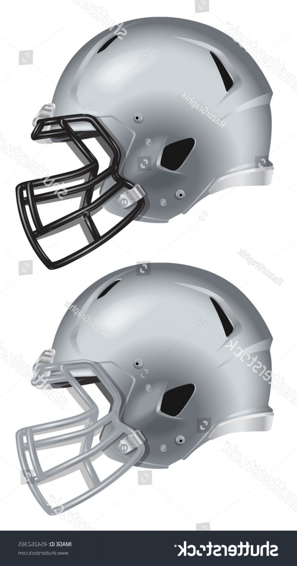Seahawks Helmet Vector: Side View Silver Football Helmet Vector