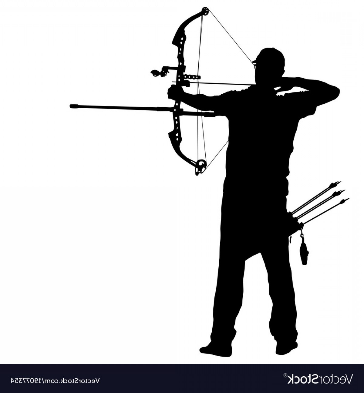 Vector Archery Silhouette: Silhouette Attractive Male Archer Bending A Bow Vector