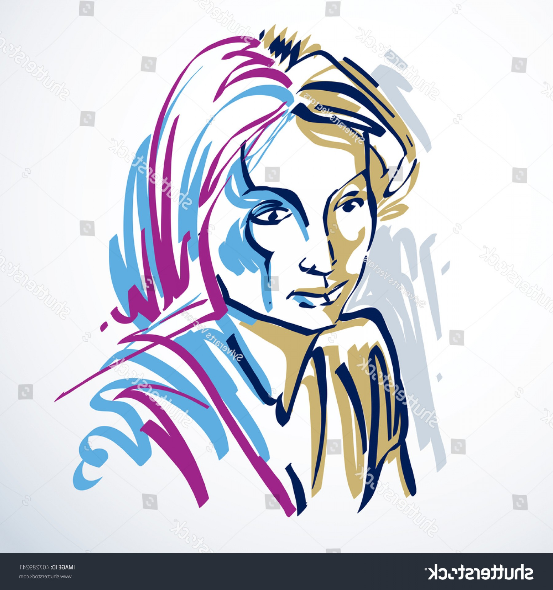 Woman Silhouette Vector Face Expression: Silhouette Beautiful Tender Woman Graphic Vector