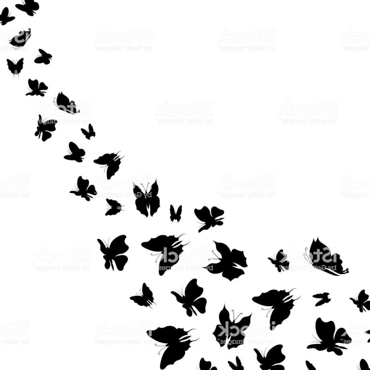 Butterly Vector: Silhouette Black Fly Flock Of Butterflies Vector Gm
