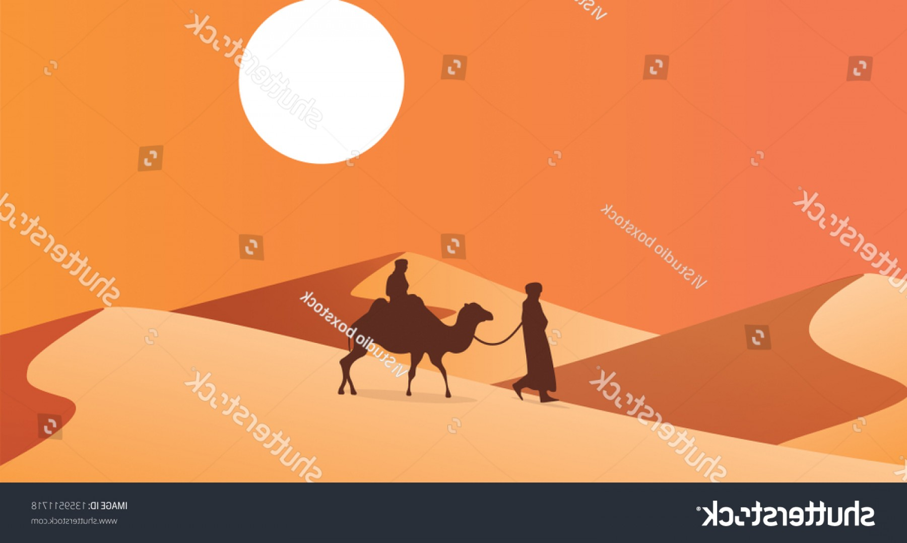 Sand Dune Silhouettes Vectors: Silhouette Camel Trader Crossing Sand Dune