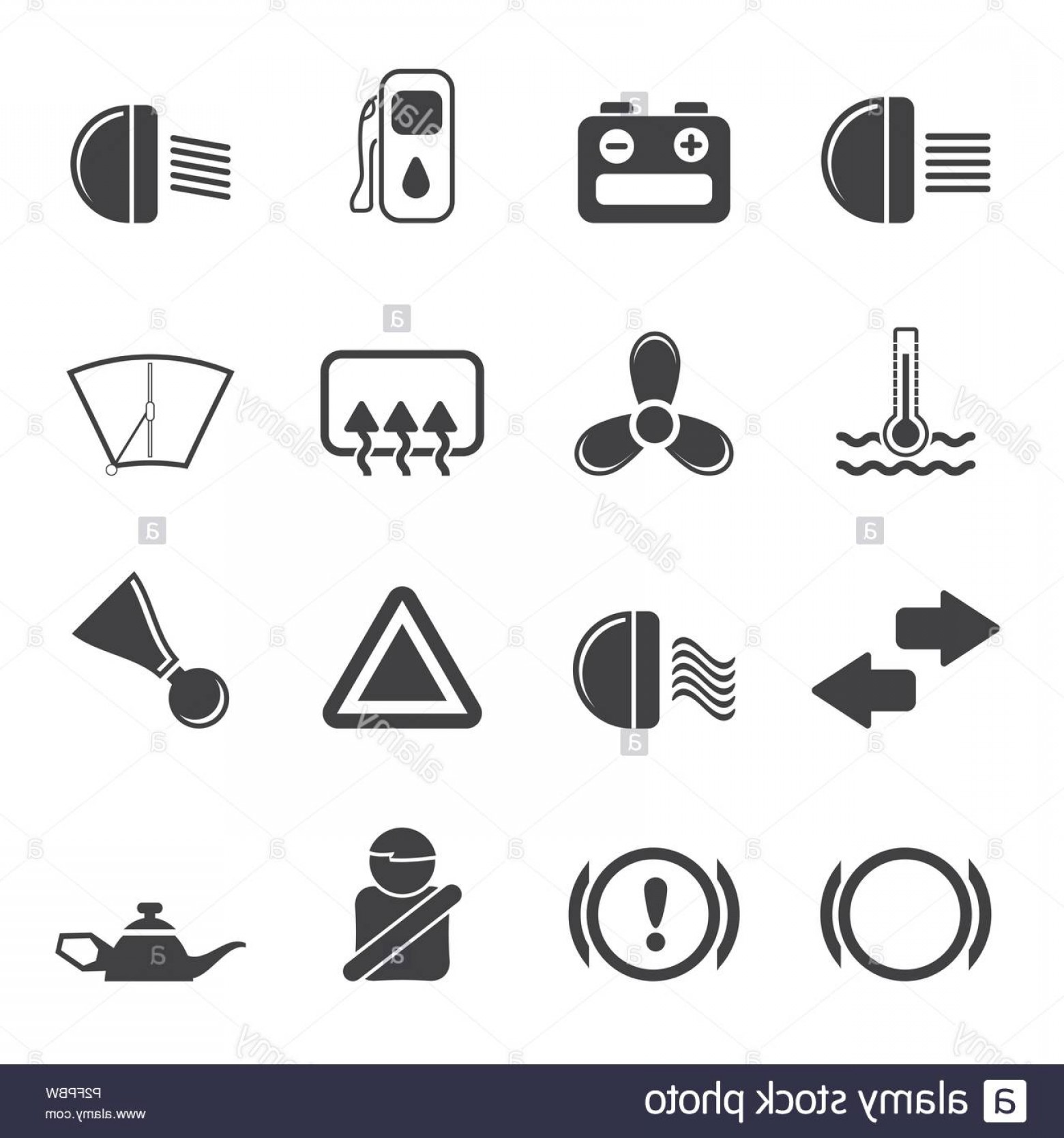 Air Conditioners Stabilizer Vector: Silhouette Car Dashboard Simple Vector Icons Set Image