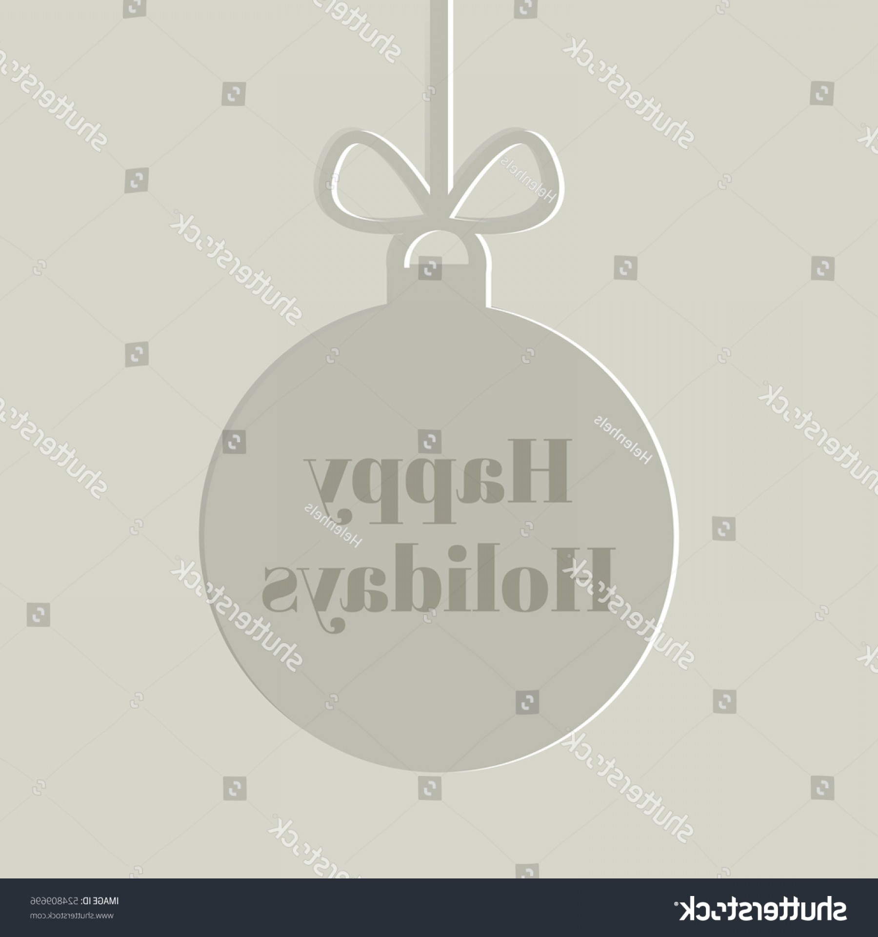 Vector Silhouette Happy Holidays: Silhouette Christmas Ball Happy Holidays Text
