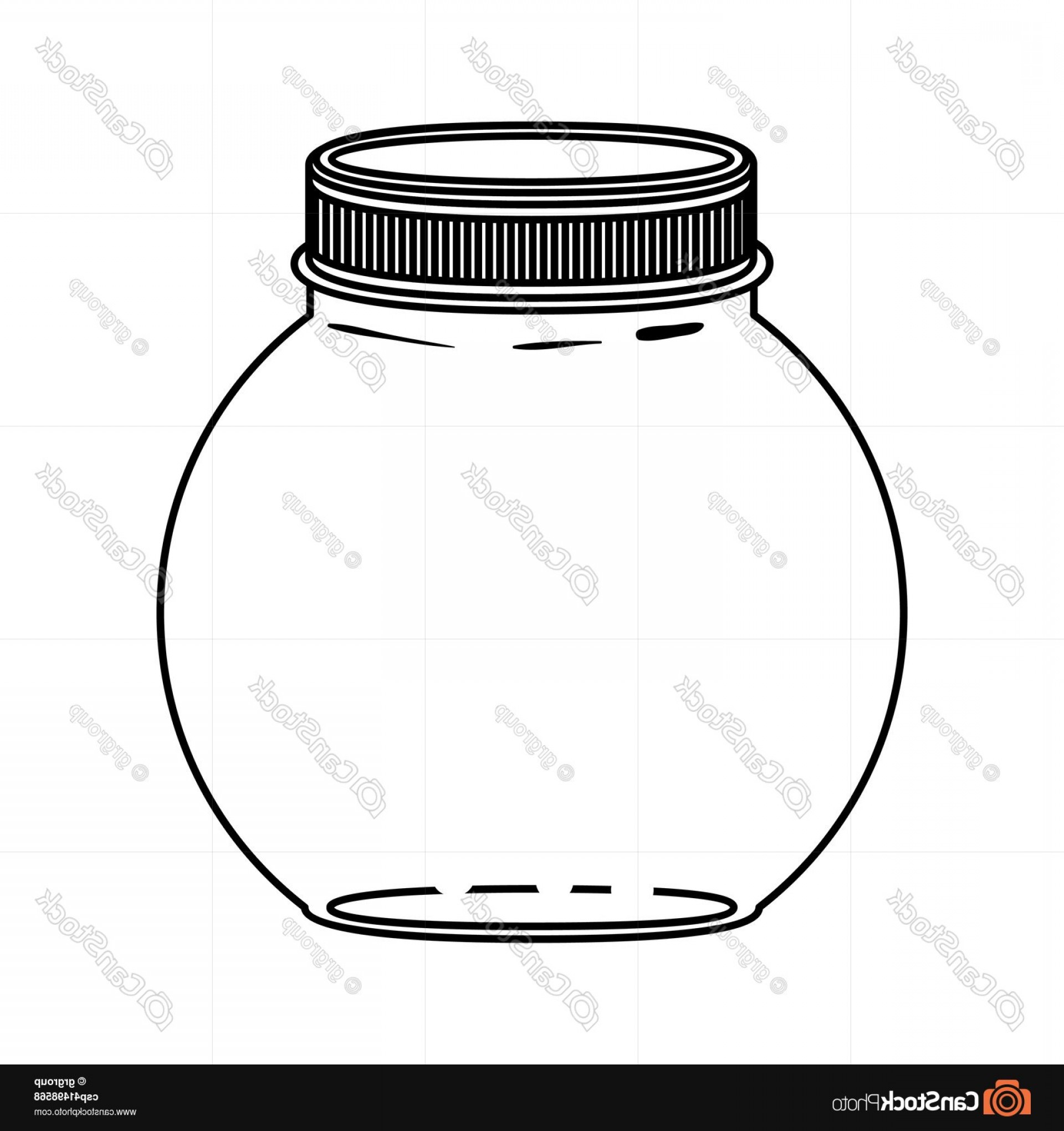 Mason Jar Outline Vector: Silhouette Circular Glass Container With