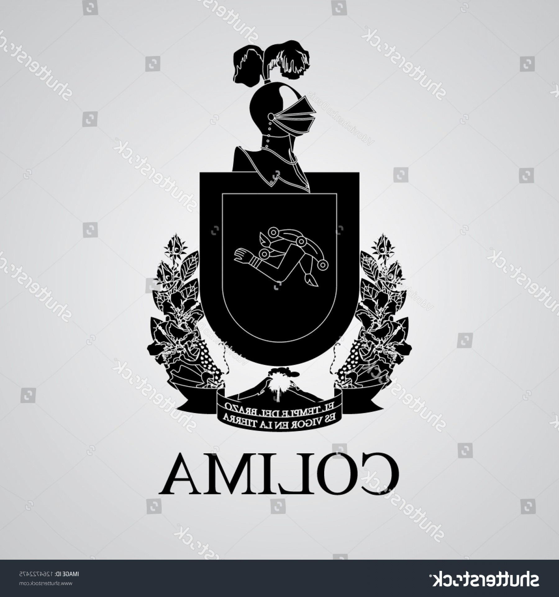 Crest And Coat Of Arms Vector Silhouette: Silhouette Colima Coat Arms Mexican State
