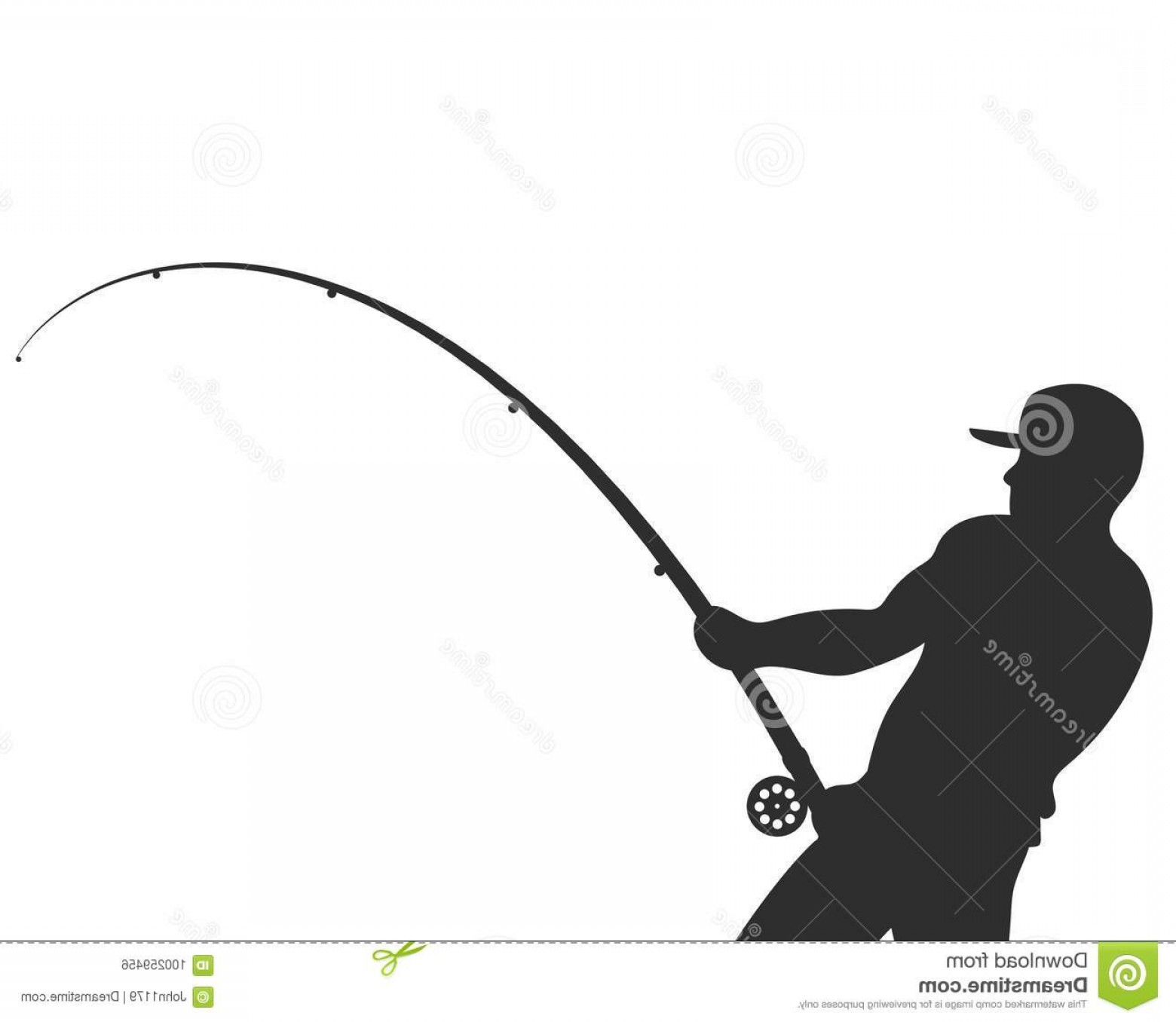 Fishing Pole Silhouette Vector: Silhouette Fisherman Fishing Rod Vector Silhouetted Fisherman Fishing Rod Vector Illustration Image