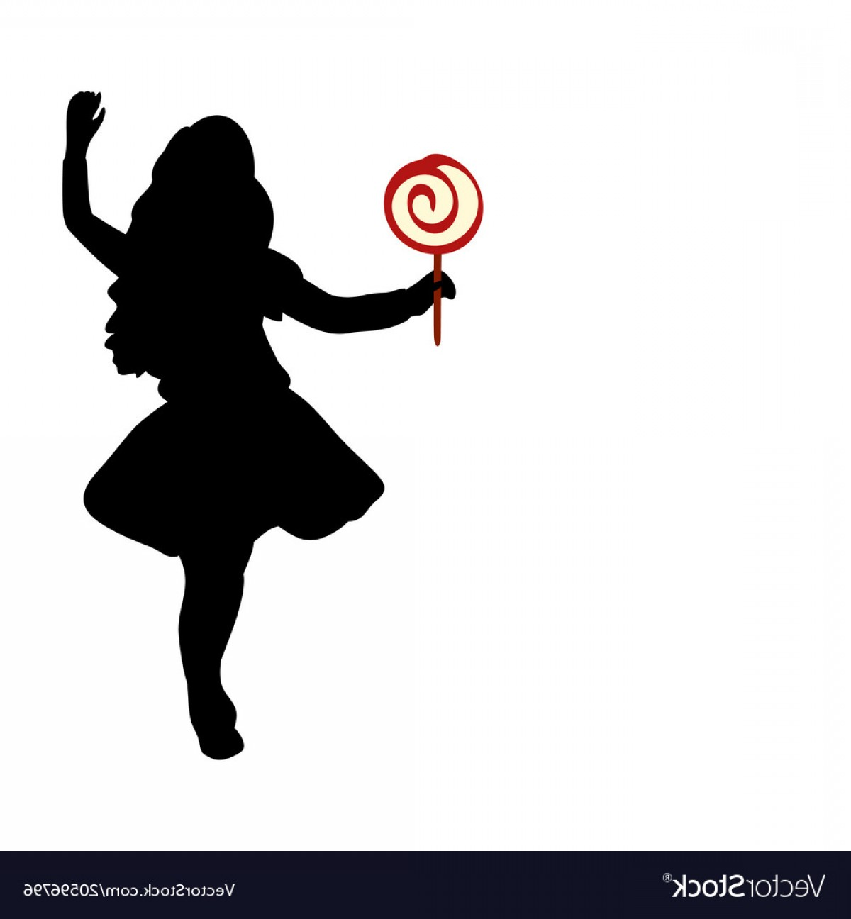 Lollipop Vector Silhouette: Silhouette Girl Hold Sweet Candy Vector
