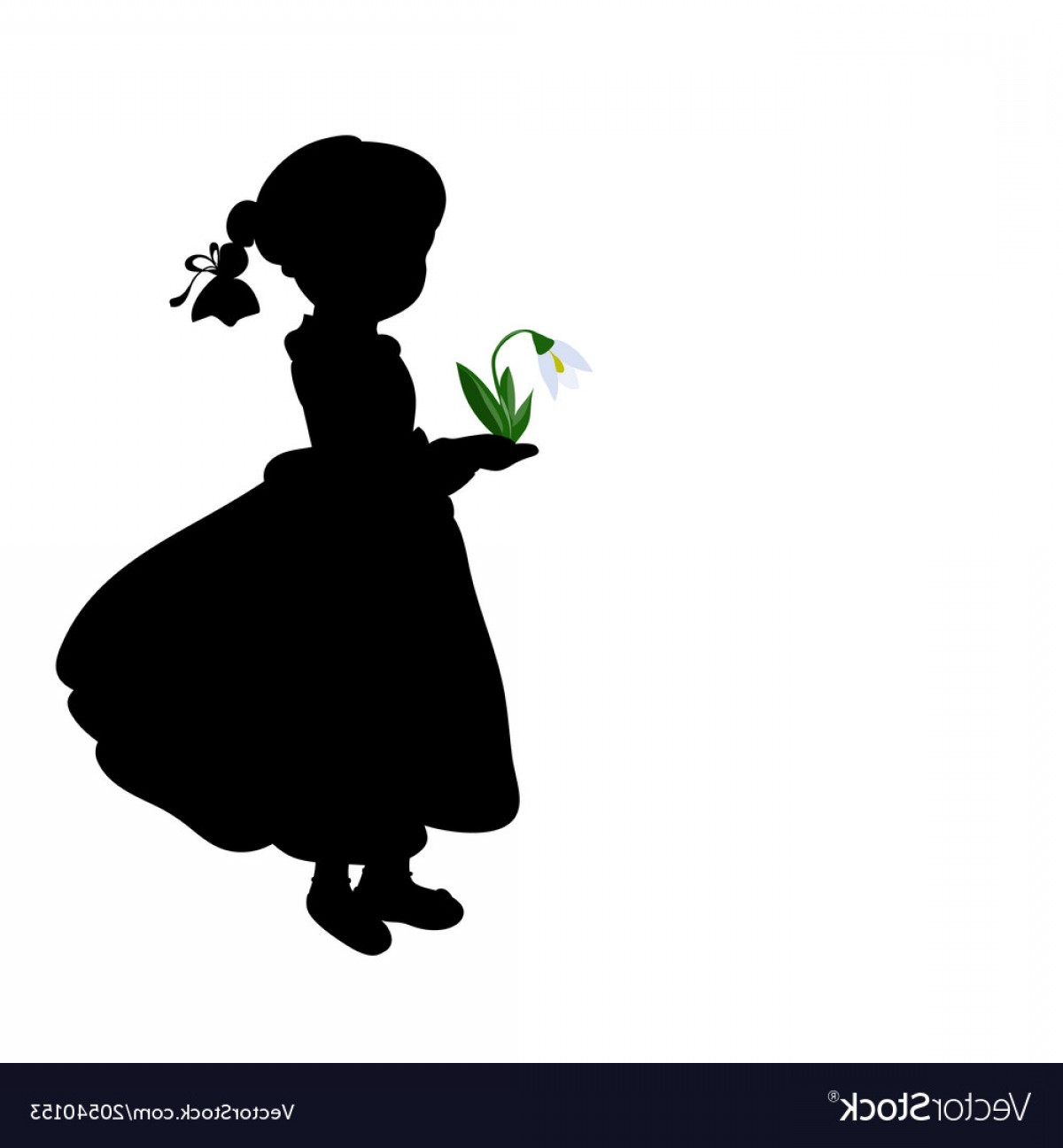 Spring Vector Silhouette: Silhouette Girl With Spring Snowdrops Vector