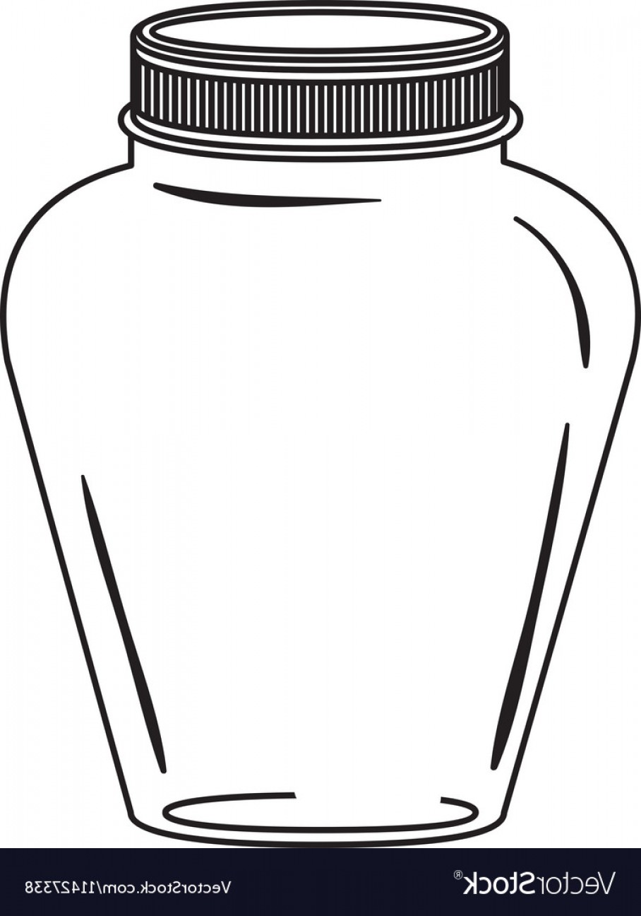 Mason Jar Outline Vector: Silhouette Glass Jar Decorative With Lid Vector