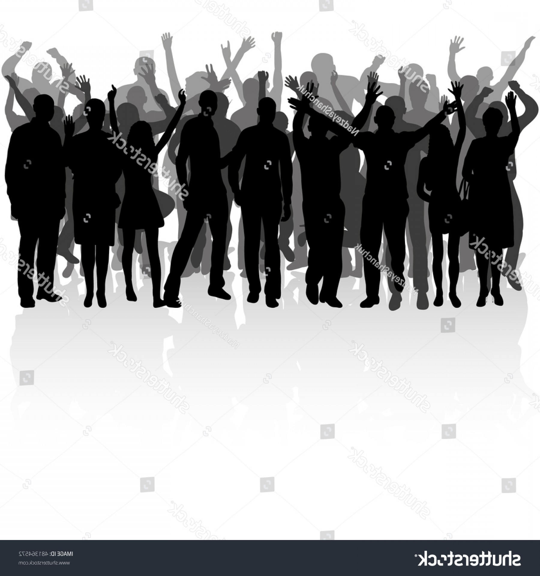 Sillouhette Vector Group: Silhouette Group Dancing People Vector Set