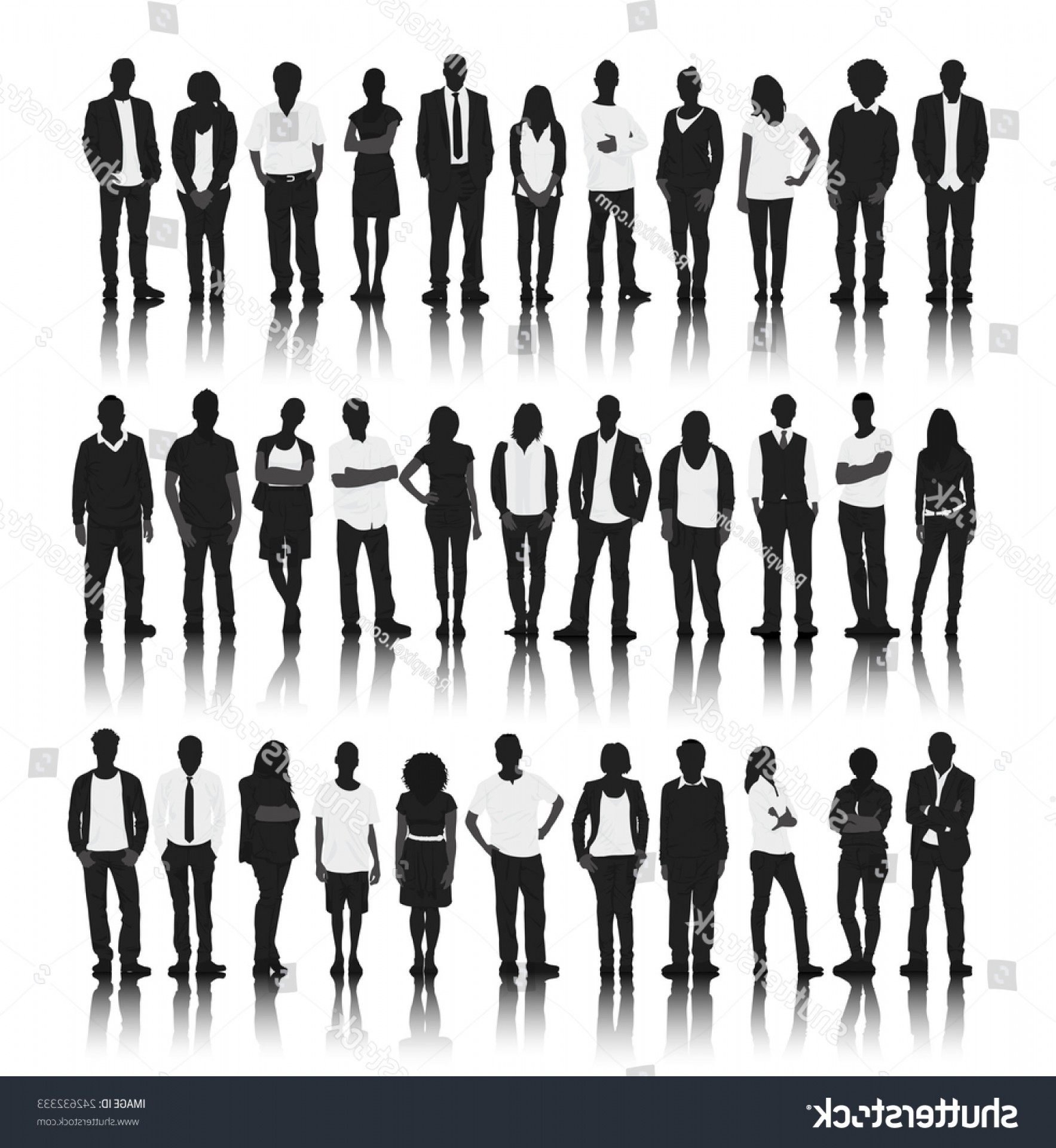 People Standing Vector: Silhouette Group People Standing Vector