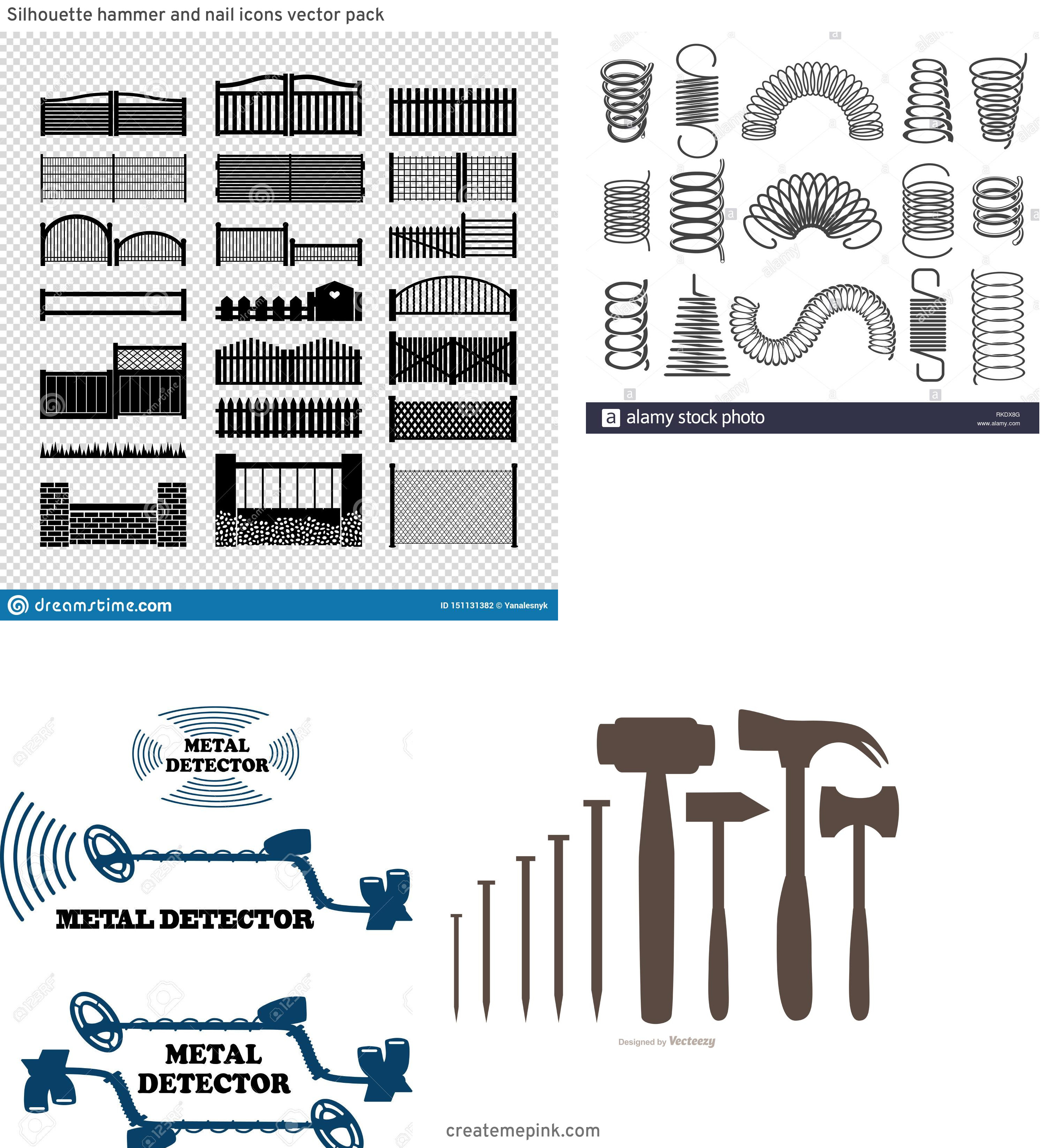 Vector Silhouette Metal Project: Silhouette Hammer And Nail Icons Vector Pack