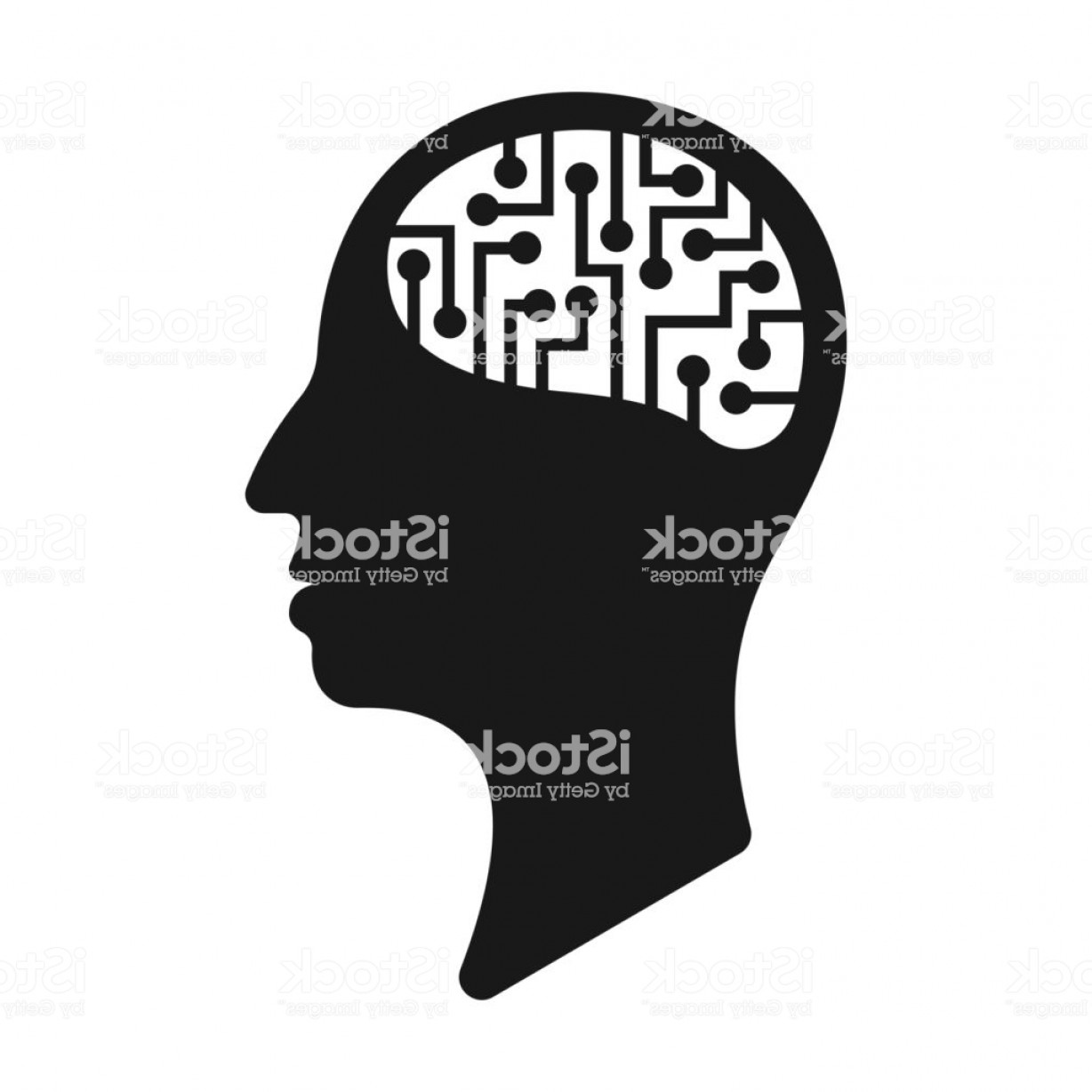 Digital Vector Silhouette: Silhouette Head With Electronic Brains Digital Mind Vector Gm