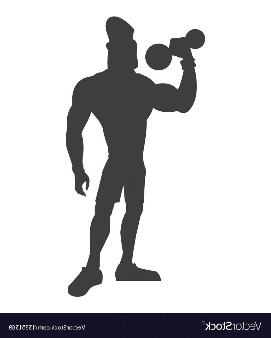 Vector Weight Lifting: Silhouette Healthy Man Weight Lifting Vector