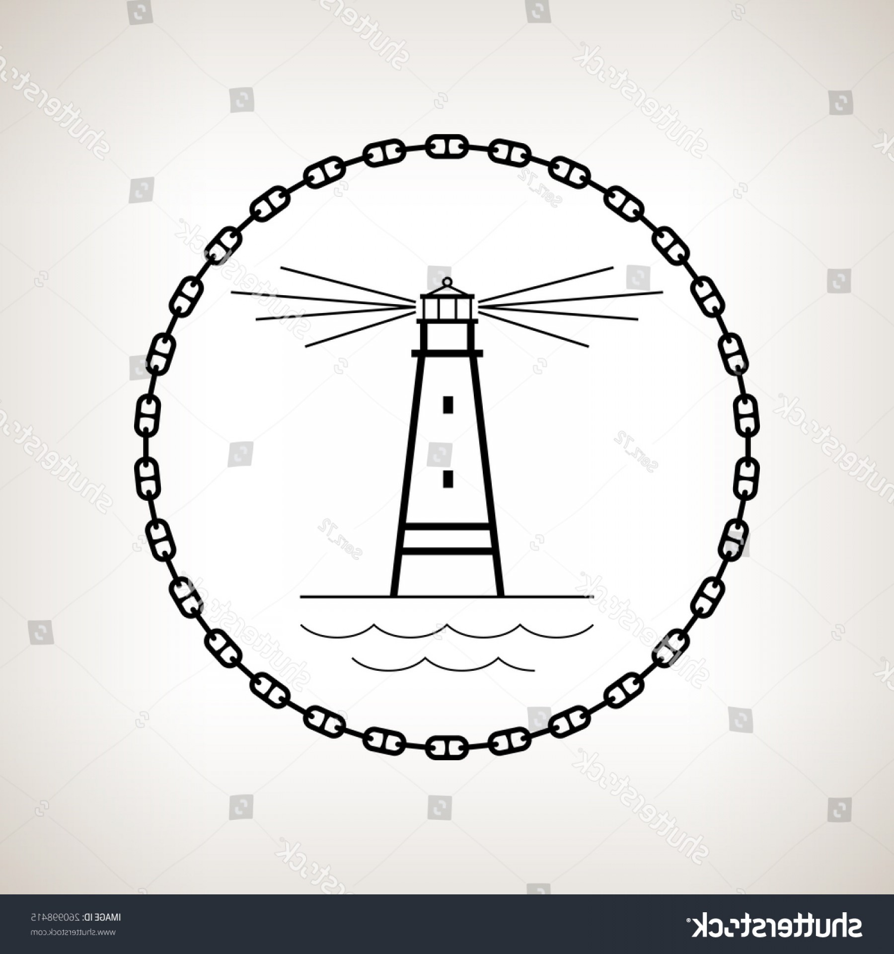 Lighthouse Beacon Silhouette Vector: Silhouette Lighthouse Beacon Circle Chain On