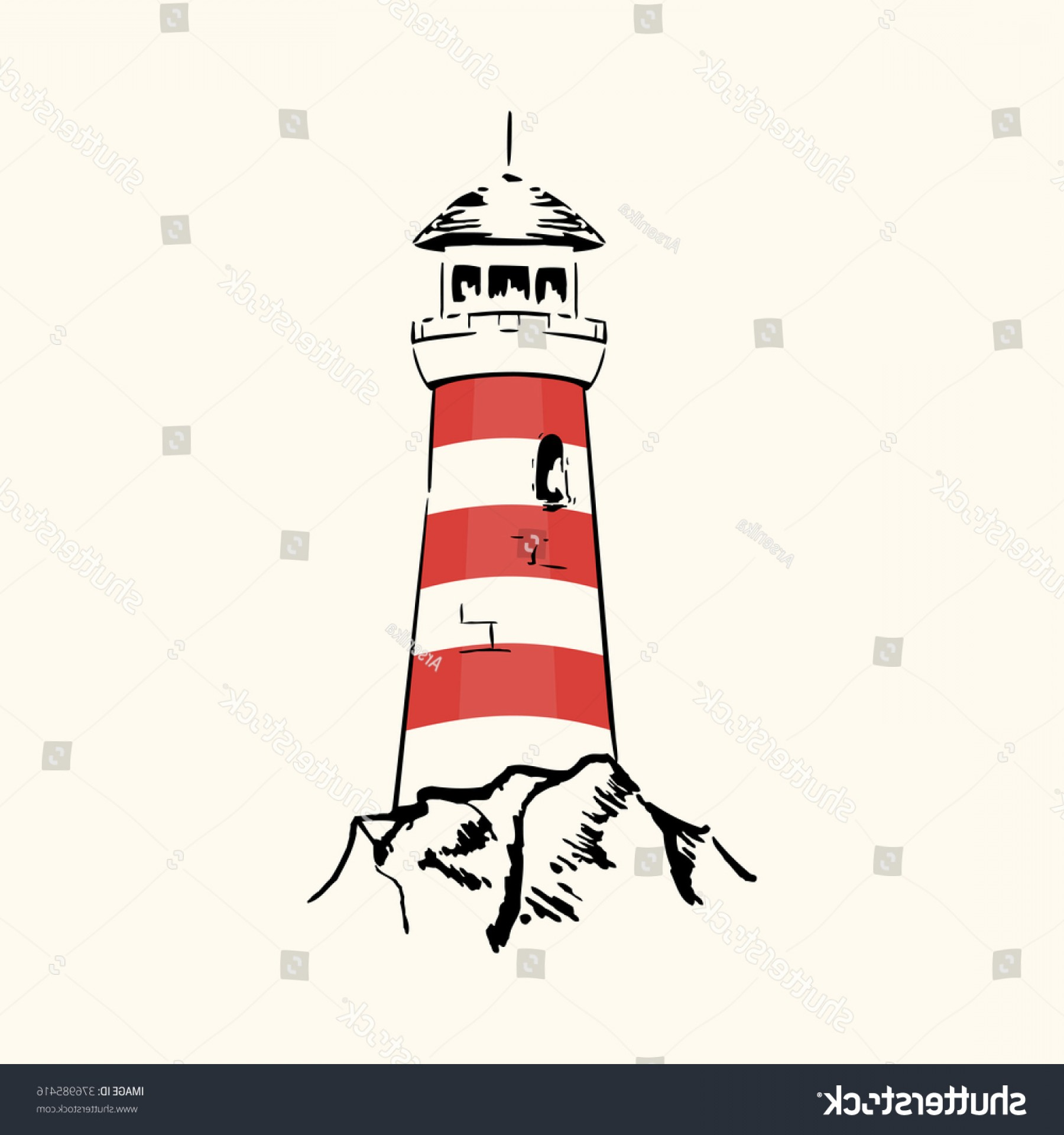 Lighthouse Beacon Silhouette Vector: Silhouette Lighthouse On Light Background