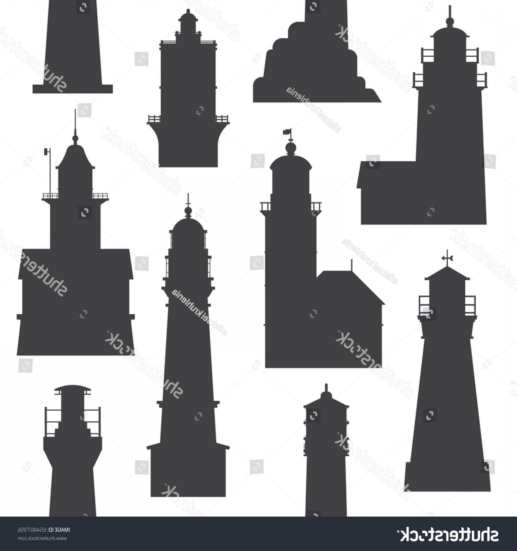 Lighthouse Beacon Silhouette Vector: Silhouette Lighthouse Pattern Different Sea Guiding