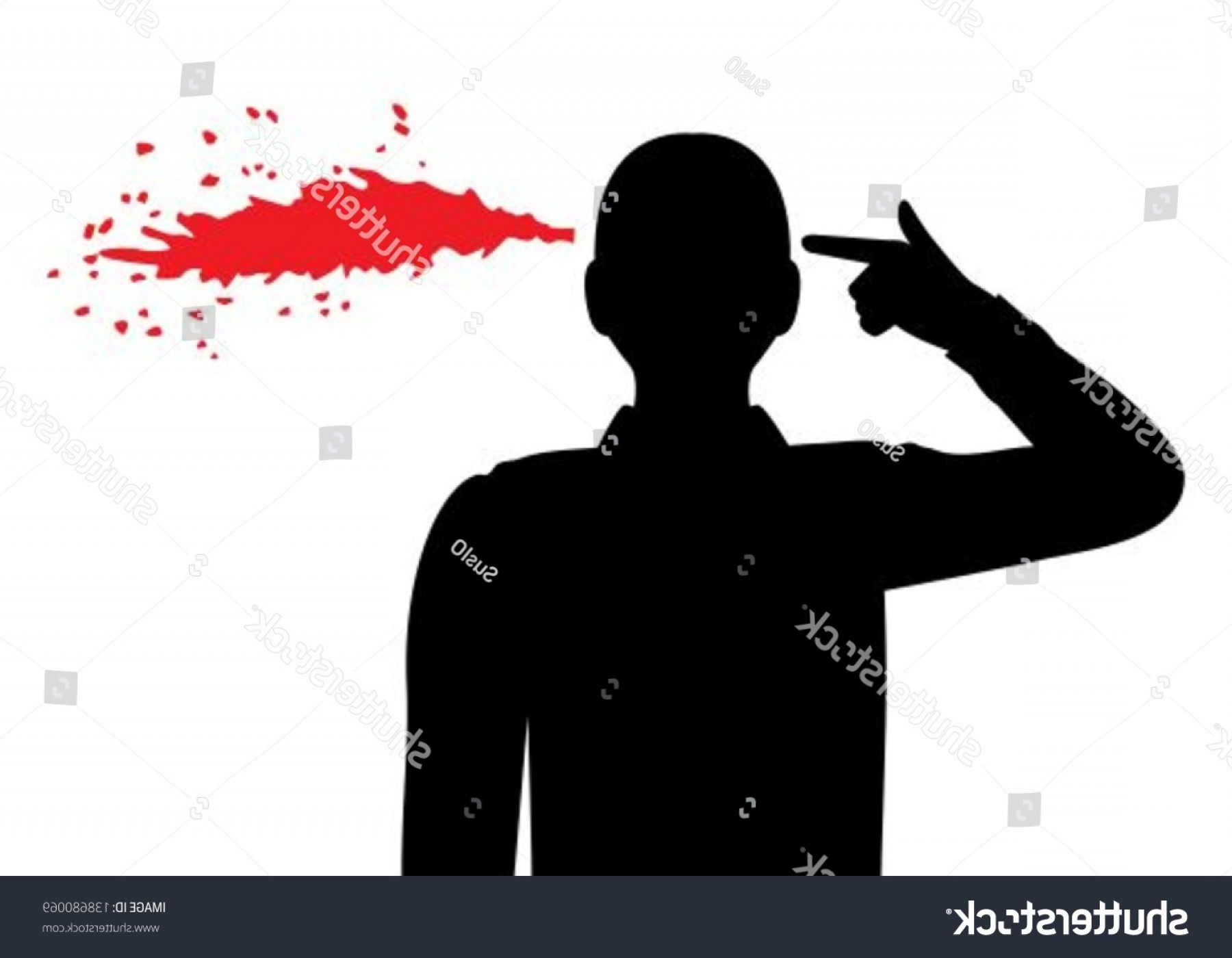 Finger Gun To Head Vector: Silhouette Man Folded His Fingers Into