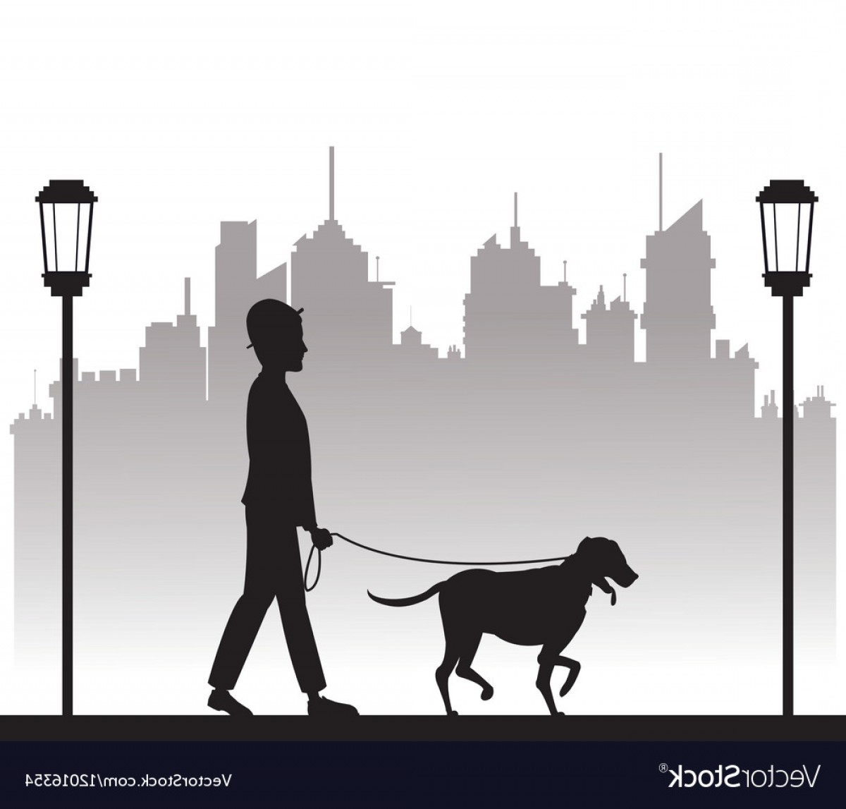 Vector Silhouette Dog Walk: Silhouette Man With Dog Walking Park City Vector