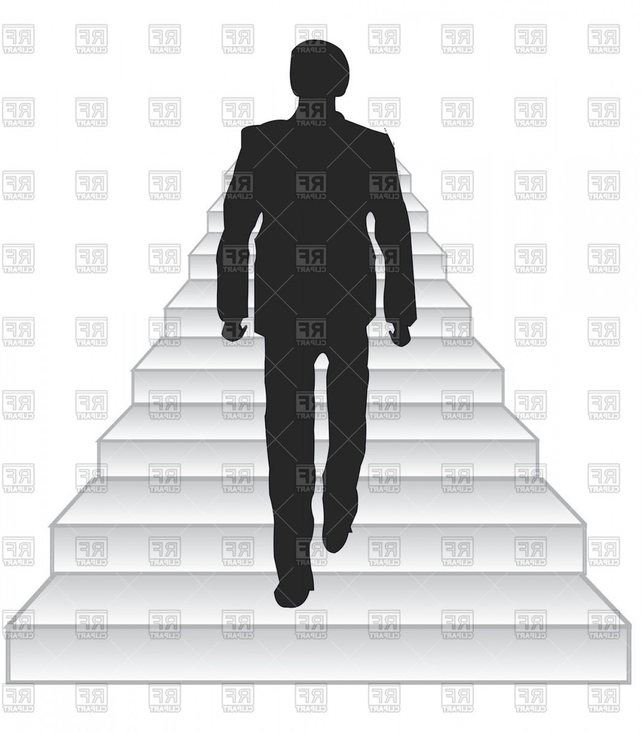 Male Silhouette Vector Art: Silhouette Men Rising On Stairway Upwards Vector Clipart
