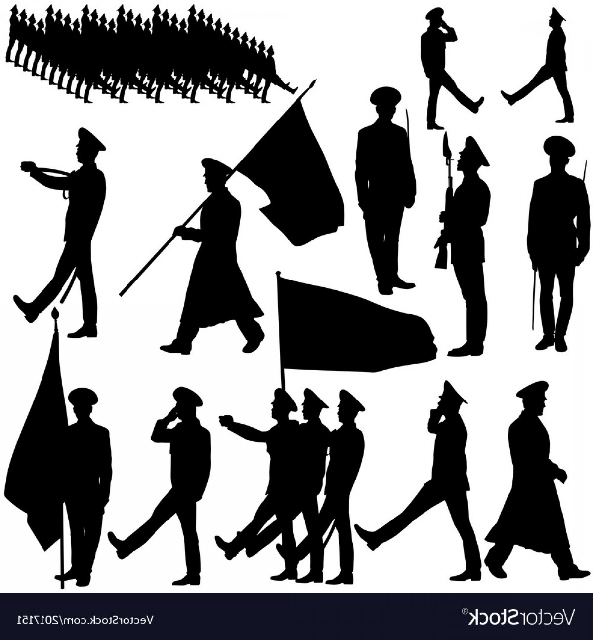 Color Guard Silhouette Vector: Silhouette Military People Collection Vector