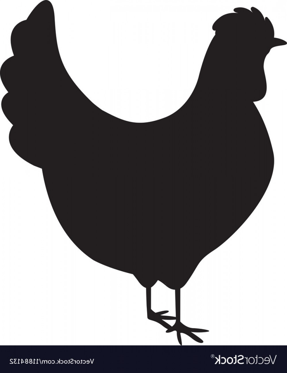 Poultry Vector Art: Silhouette Monochrome Color With Chicken Vector