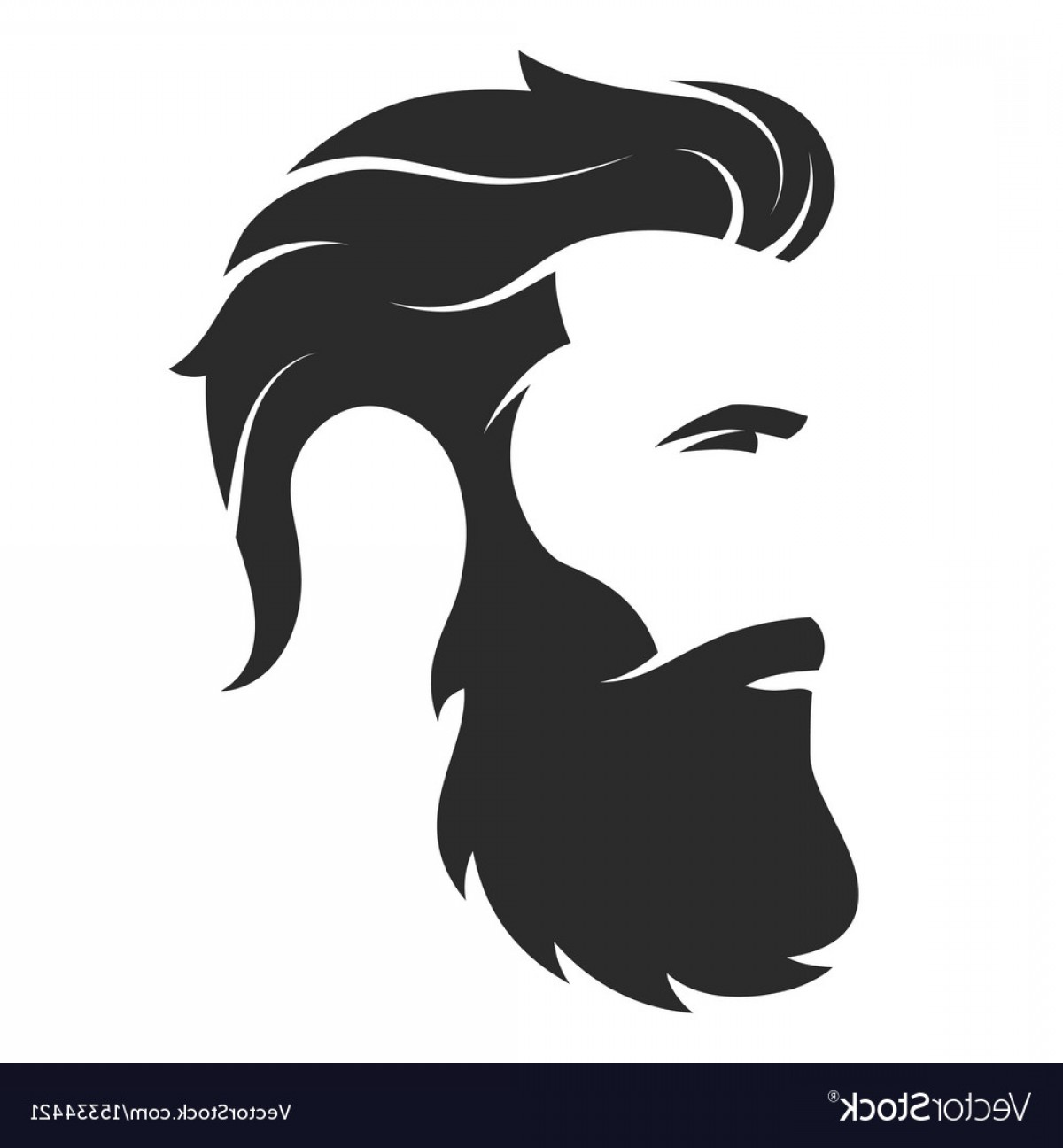 Barber Vector: Silhouette Of A Bearded Man Hipster Style Barber Vector