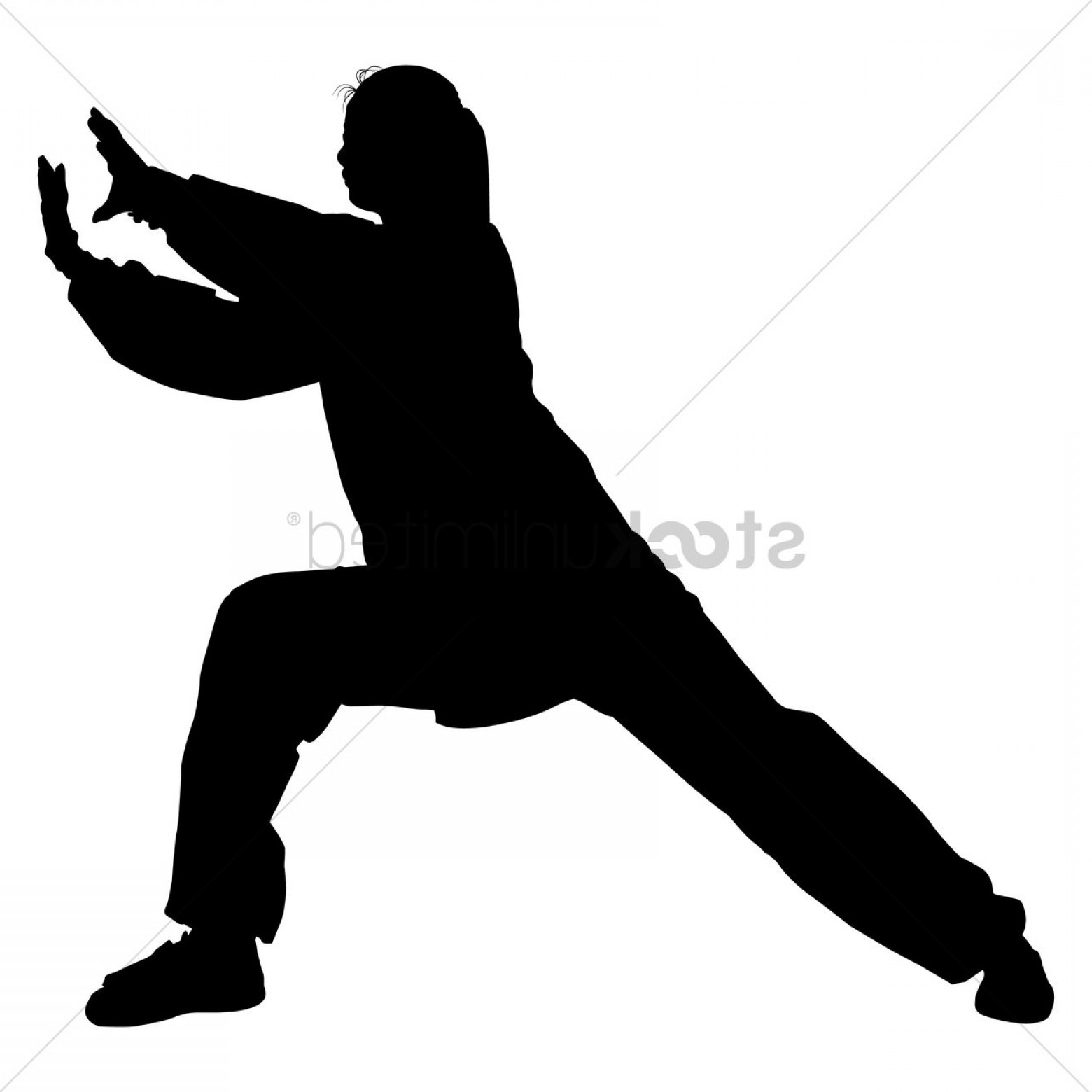 Karate Vector: Silhouette Of A Girl In Karate Pose